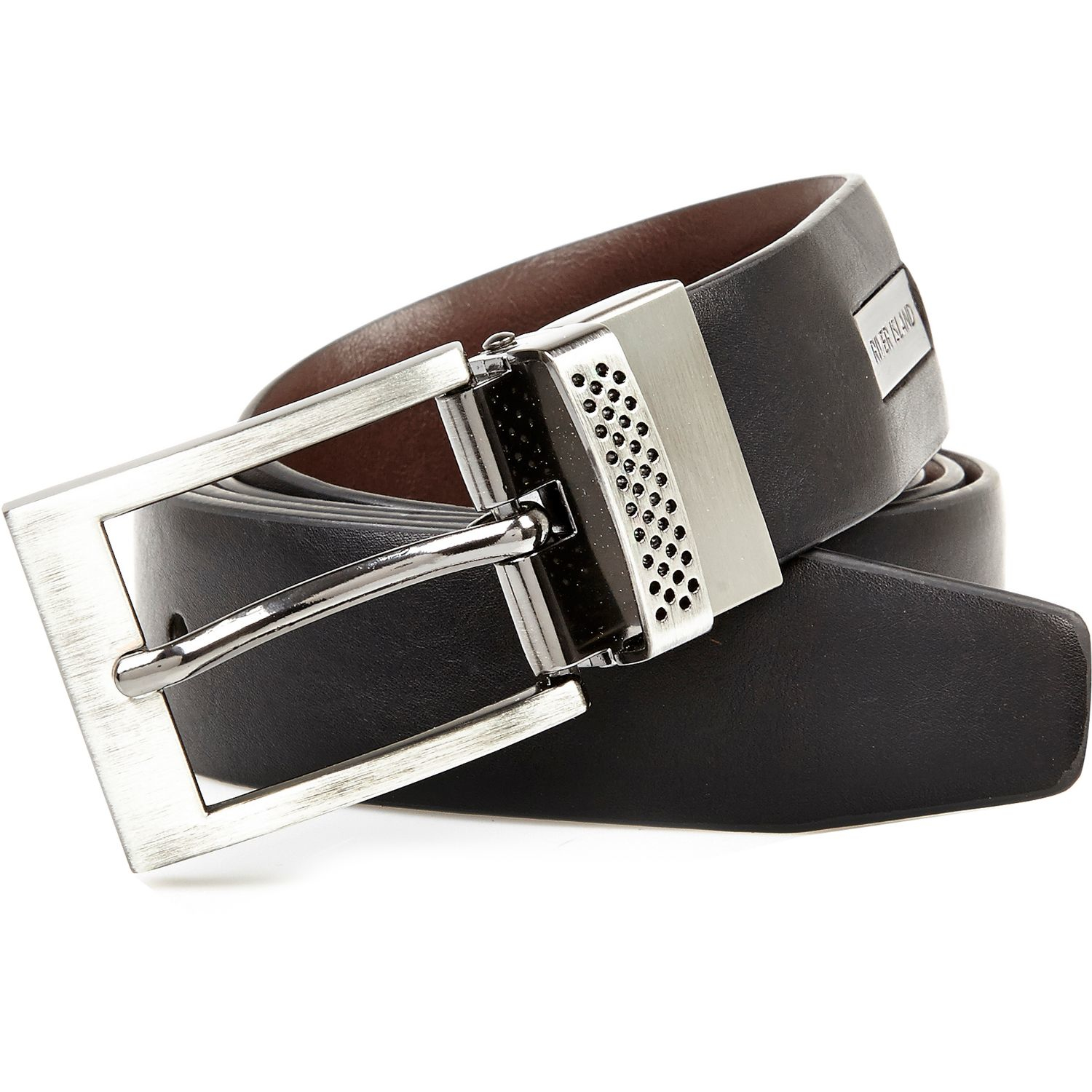 river island black and brown reversible belt in black for