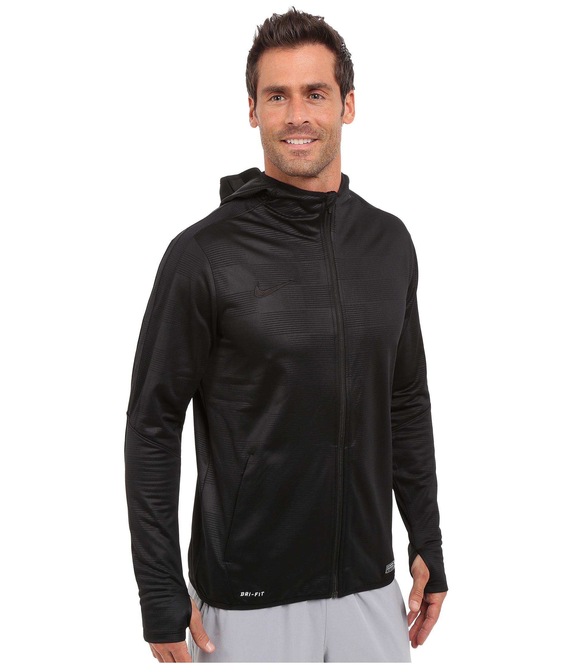 Mens Nike Graphic Knit Ii Full Zip Black Soccer Hoodie