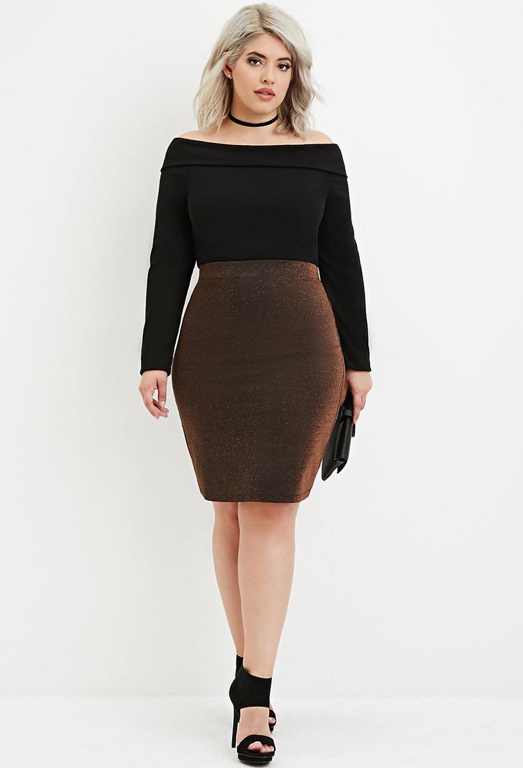 Plus Size Metallic Knit Pencil Skirt