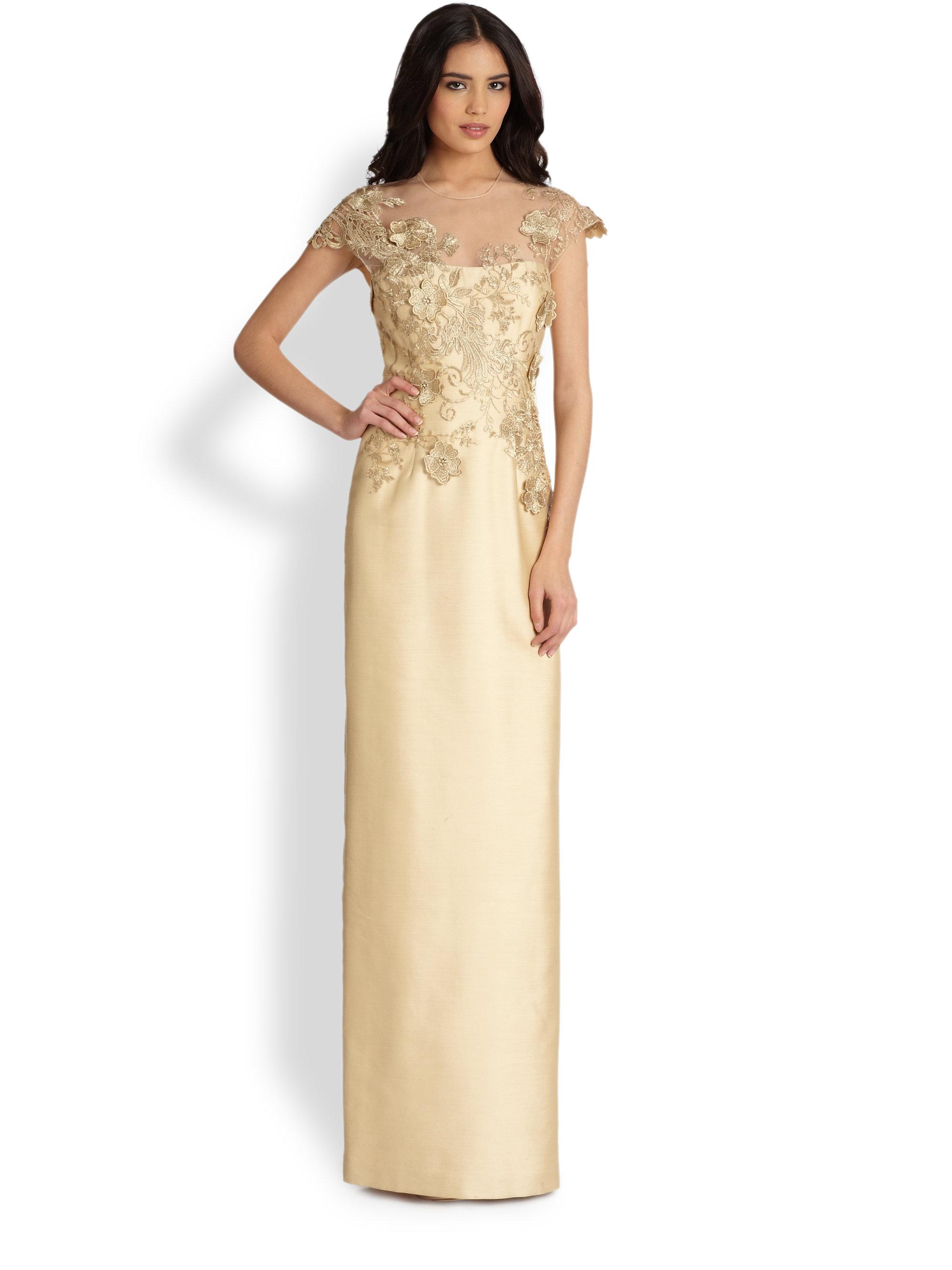 Lyst - Teri Jon Lace-applique Gown in Metallic