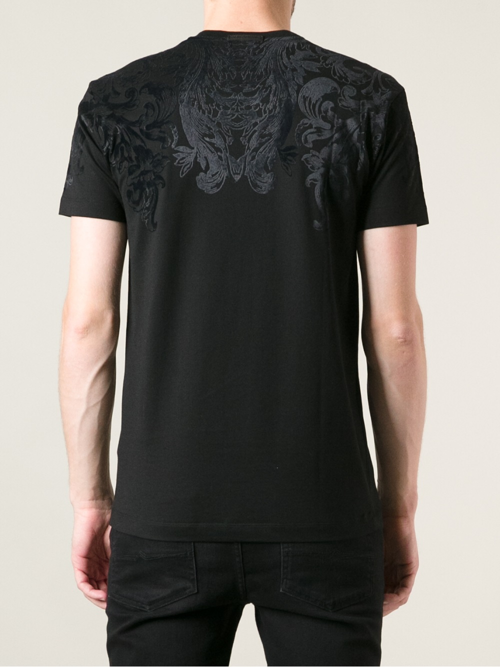 Dolce gabbana floral printed t shirt in black for men lyst for Dolce and gabbana printed t shirts