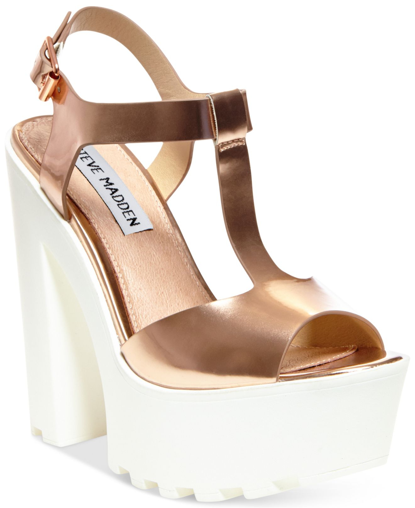 47d6e88ac3a8b Steve Madden Stecy rose gold heel sandal size 8 5 Source · Lyst Steve Madden  Girltalk Platform Wedge Sandals in Pink