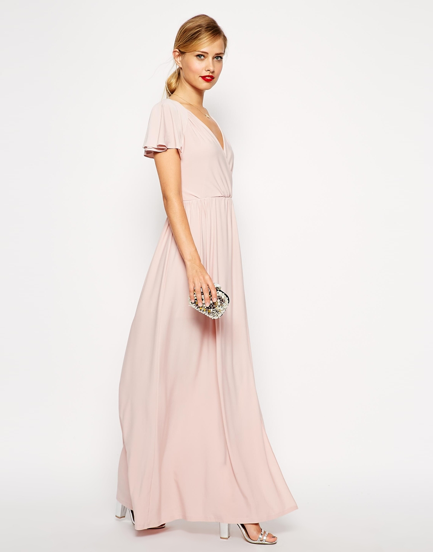 Lyst Asos Flutter Sleeve Wrap Maxi Dress In Natural
