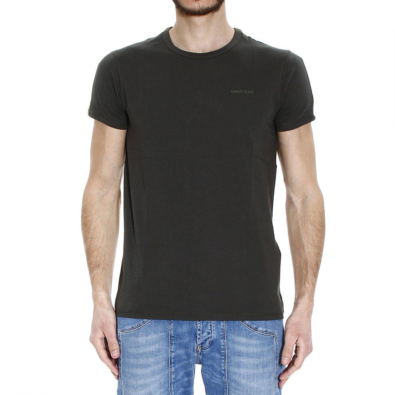 Lyst giorgio armani t shirt half sleeve crew neck for Denim half sleeve shirt