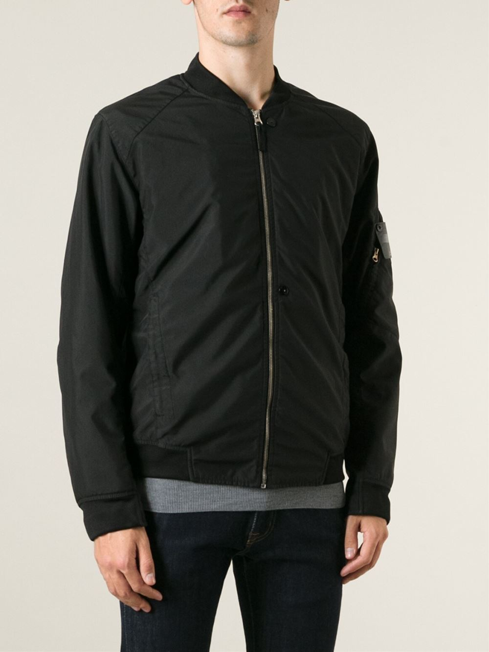 Stone island Fitted Bomber Jacket in Black for Men | Lyst