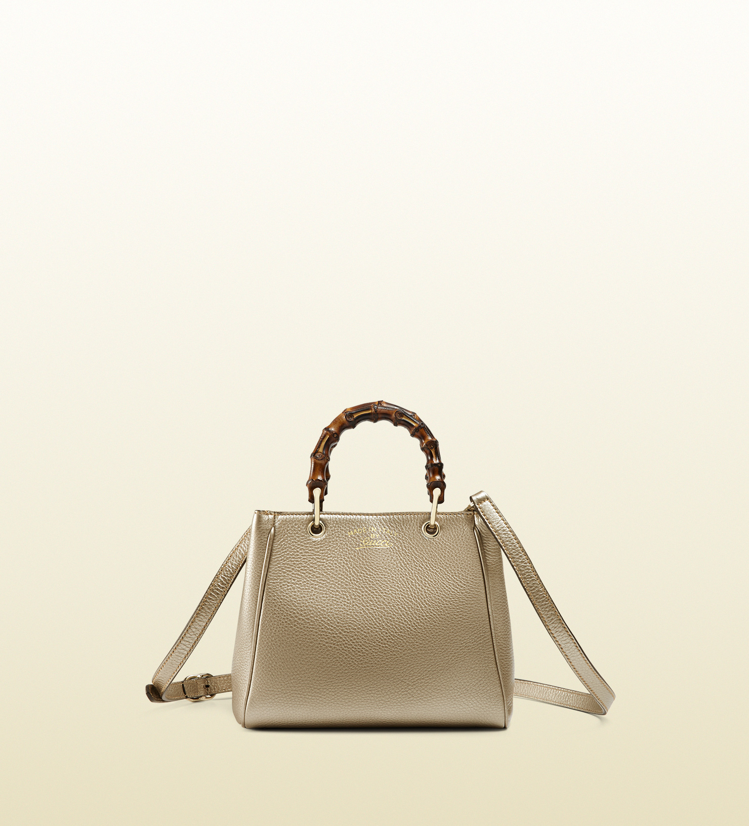 13973bedd35d Lyst - Gucci Bamboo Shopper Mini Metallic Leather Top Handle Bag in ...