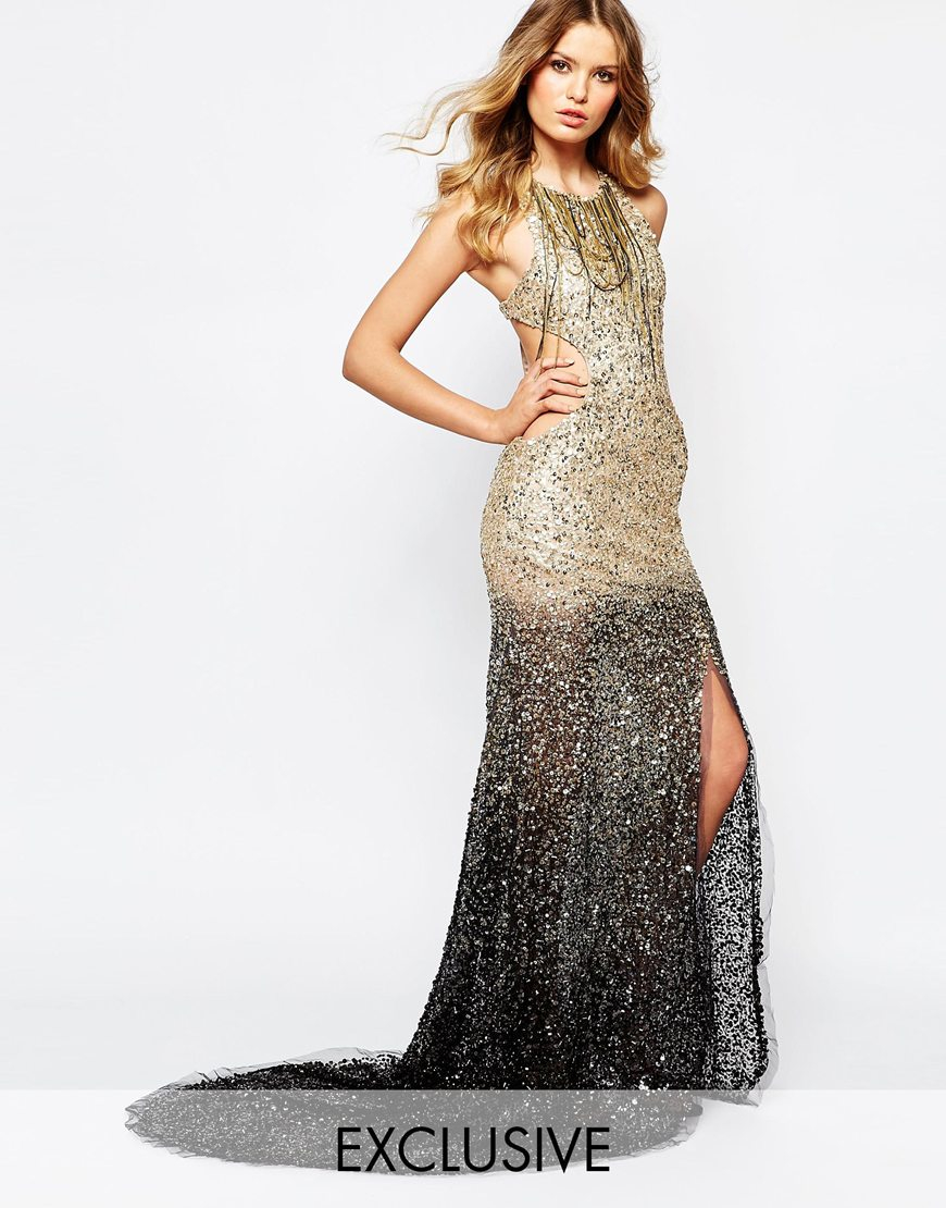 A Star Is Born Luxe Embellished Ombre Sequin Maxi Dress