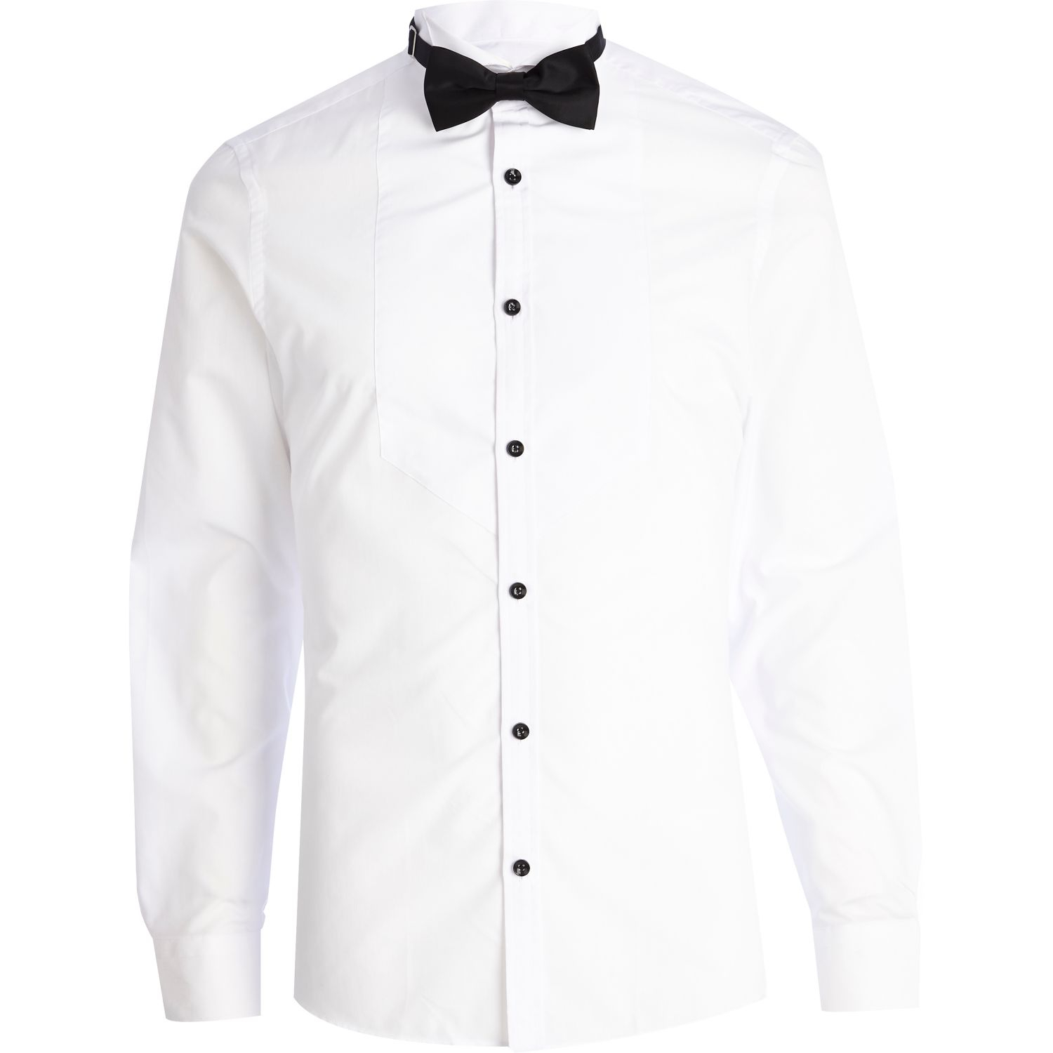 River island white formal tux shirt with bow tie in white for White shirt for tuxedo