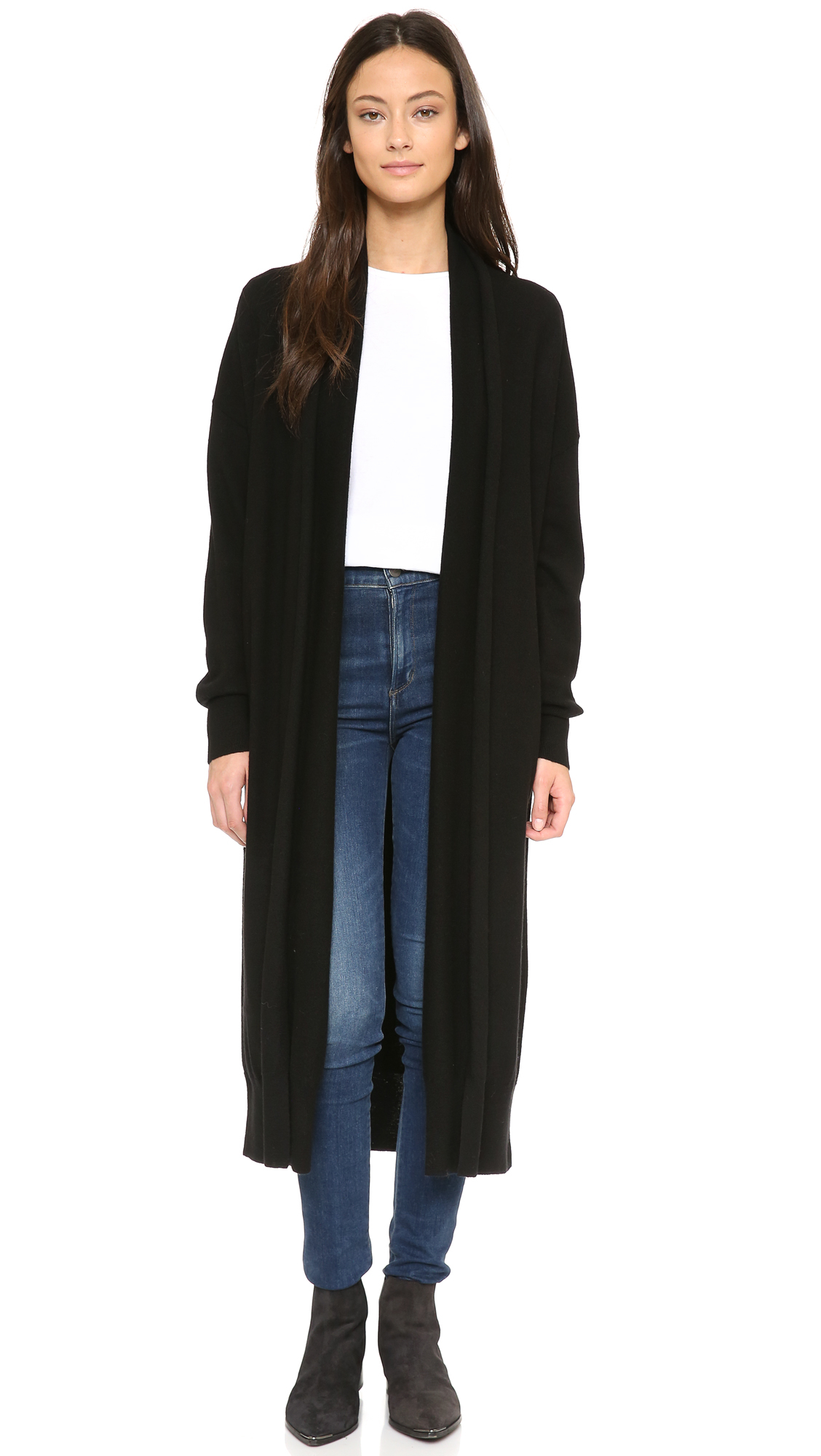 Dkny Open Front Cardigan Coat in Black | Lyst