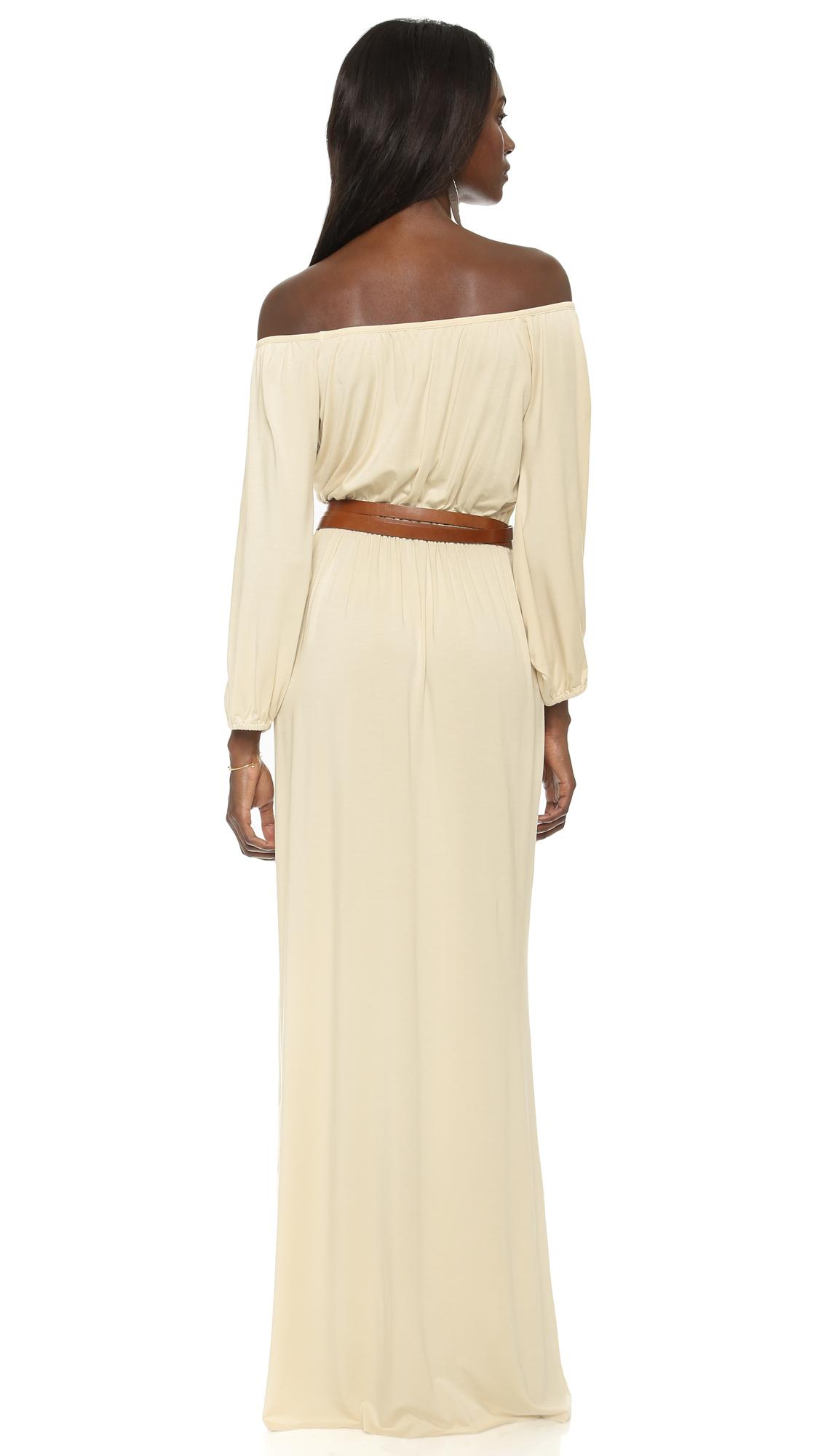 rachel pally freya off shoulder dress in natural lyst