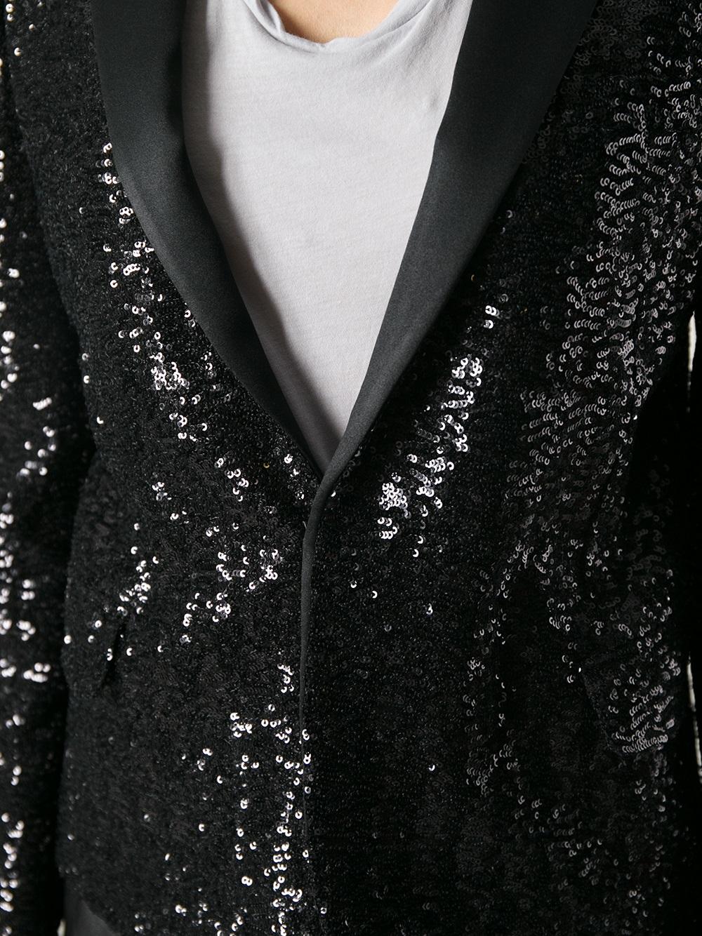 19fd283672a Saint Laurent Sequined Blazer in Black - Lyst