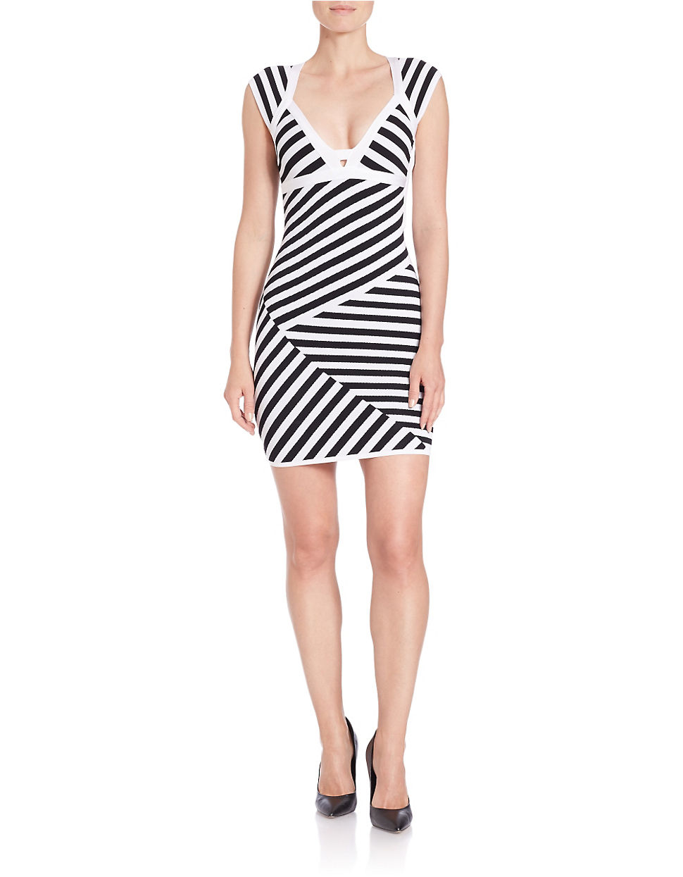Guess striped bodycon dress taylor guelph store