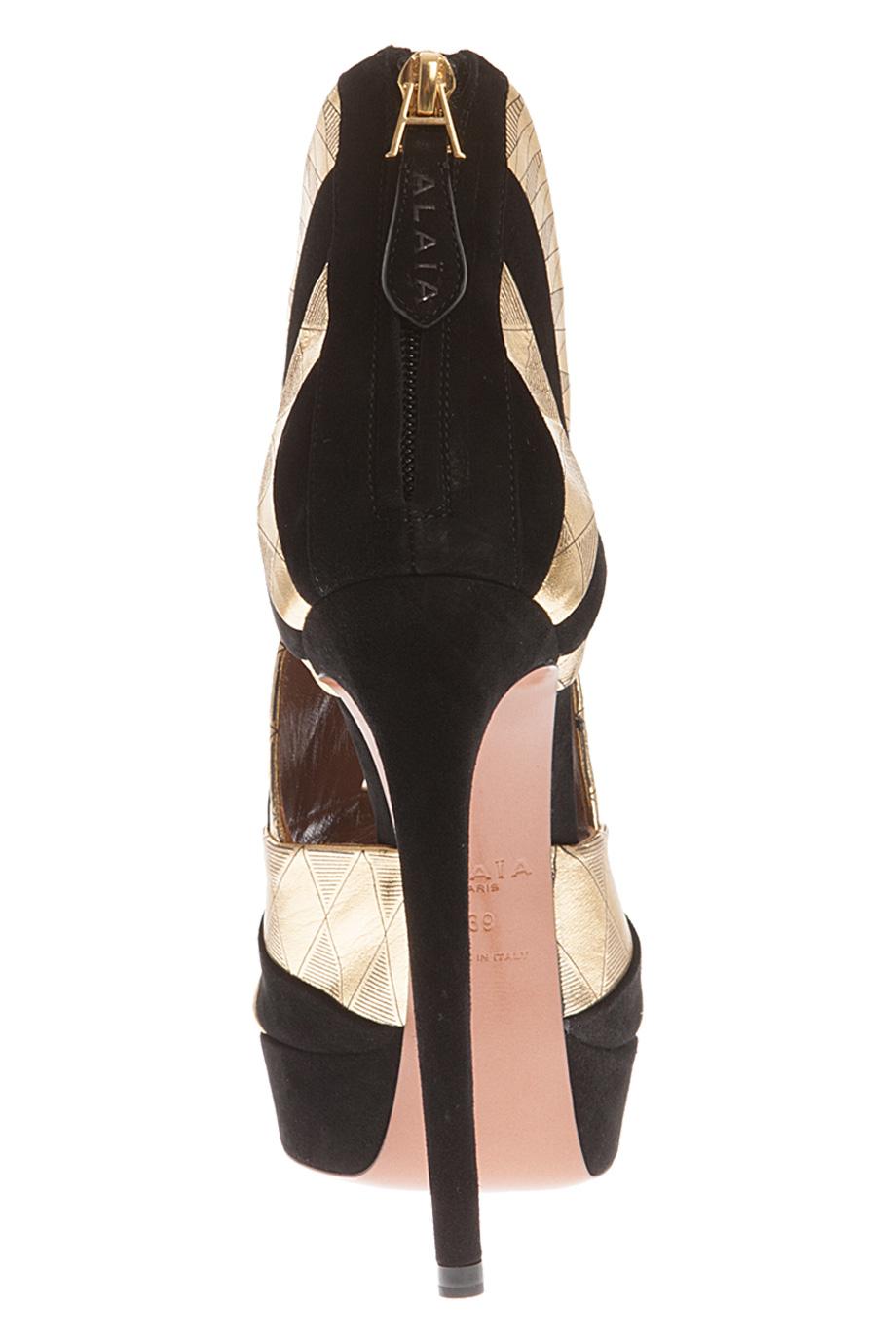 ala a metallic high heel shoes in black lyst. Black Bedroom Furniture Sets. Home Design Ideas