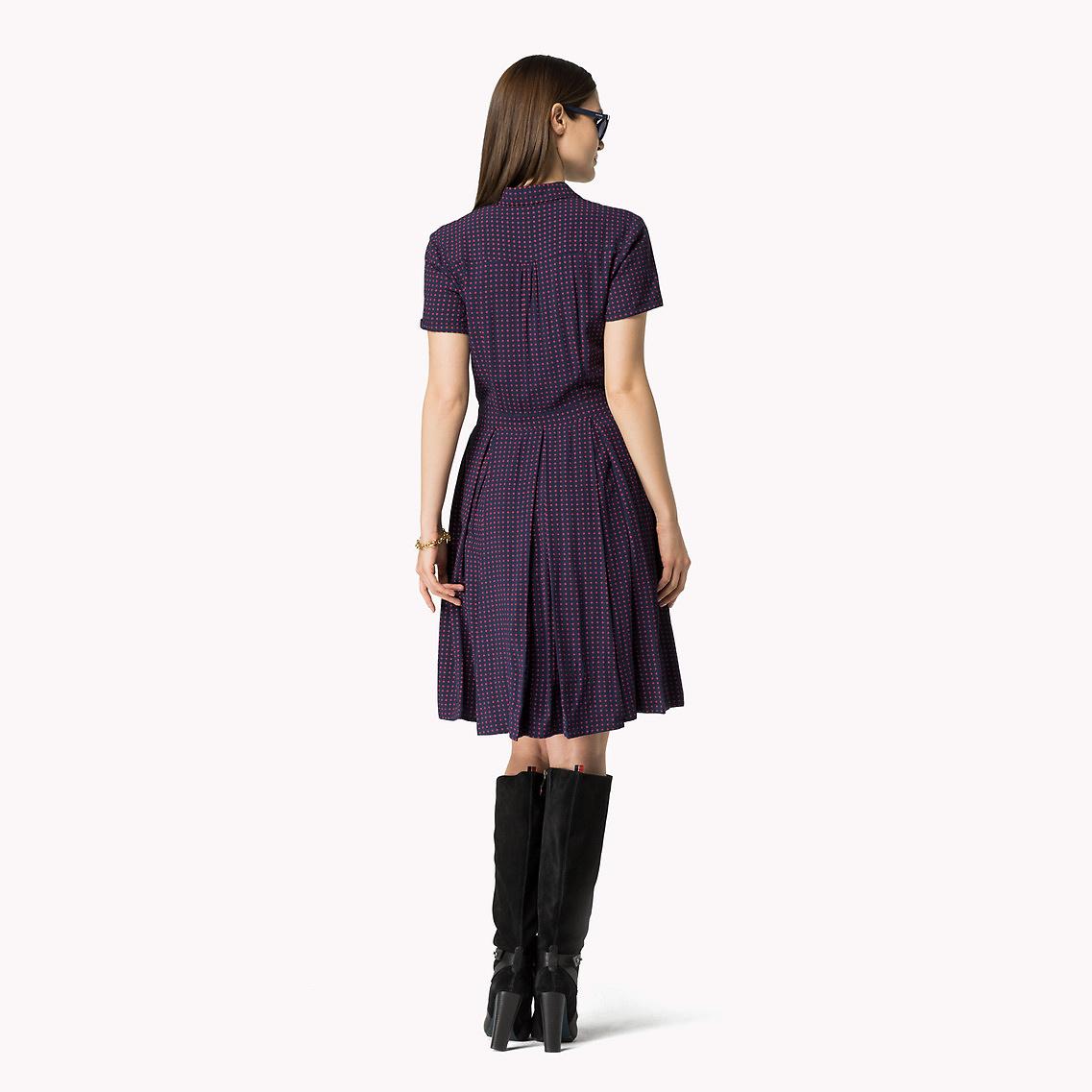 tommy hilfiger cotton viscose printed shirt dress in blue. Black Bedroom Furniture Sets. Home Design Ideas