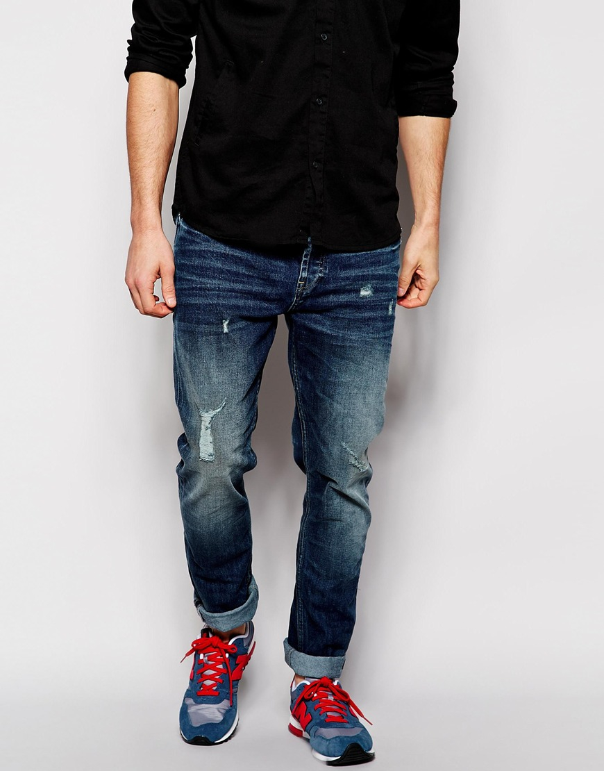 Only & sons Ripped Jeans In Carrot Fit in Blue for Men | Lyst
