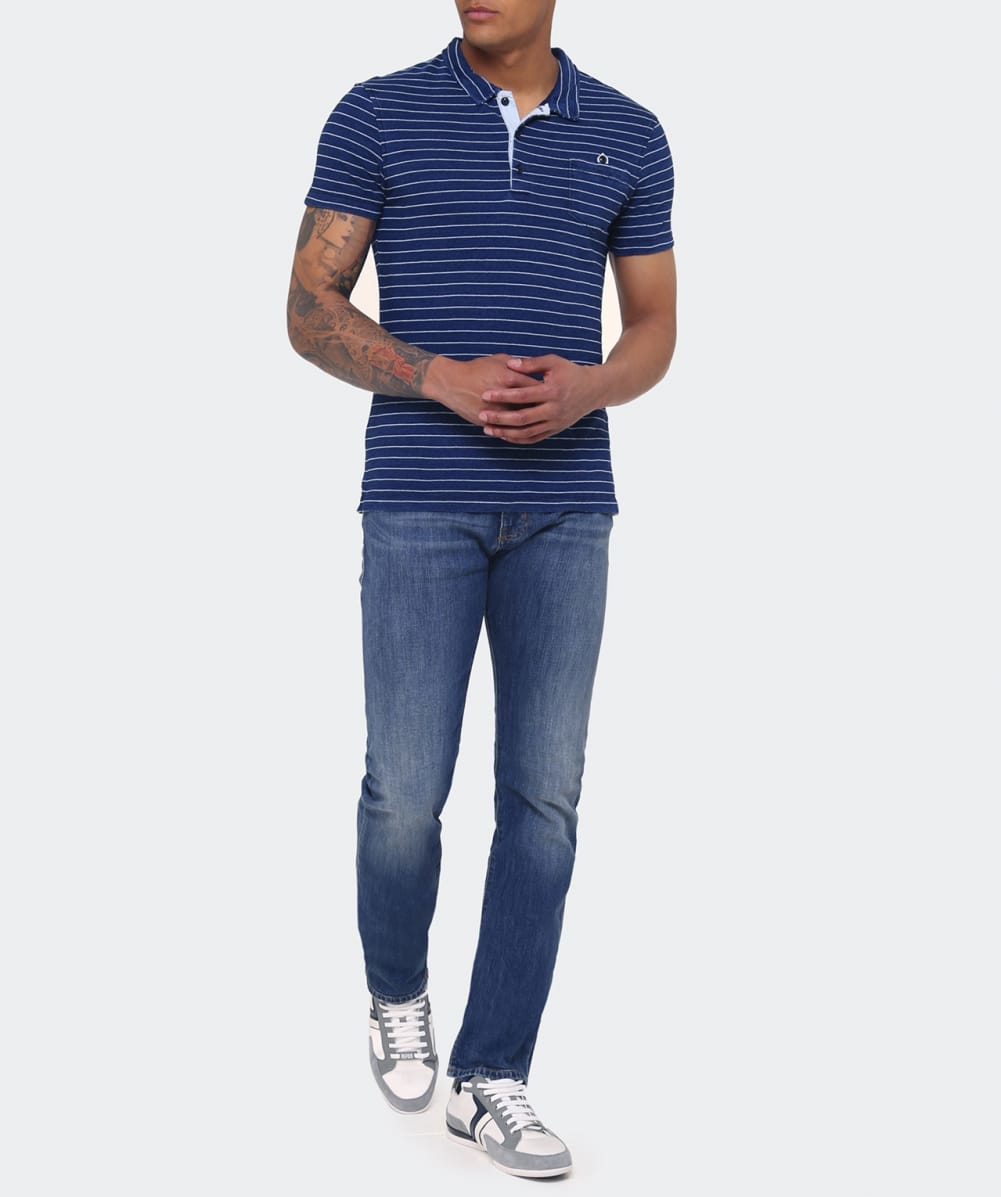 Lyst armani jeans popeline polo shirt in blue for men for Polo shirt and jeans
