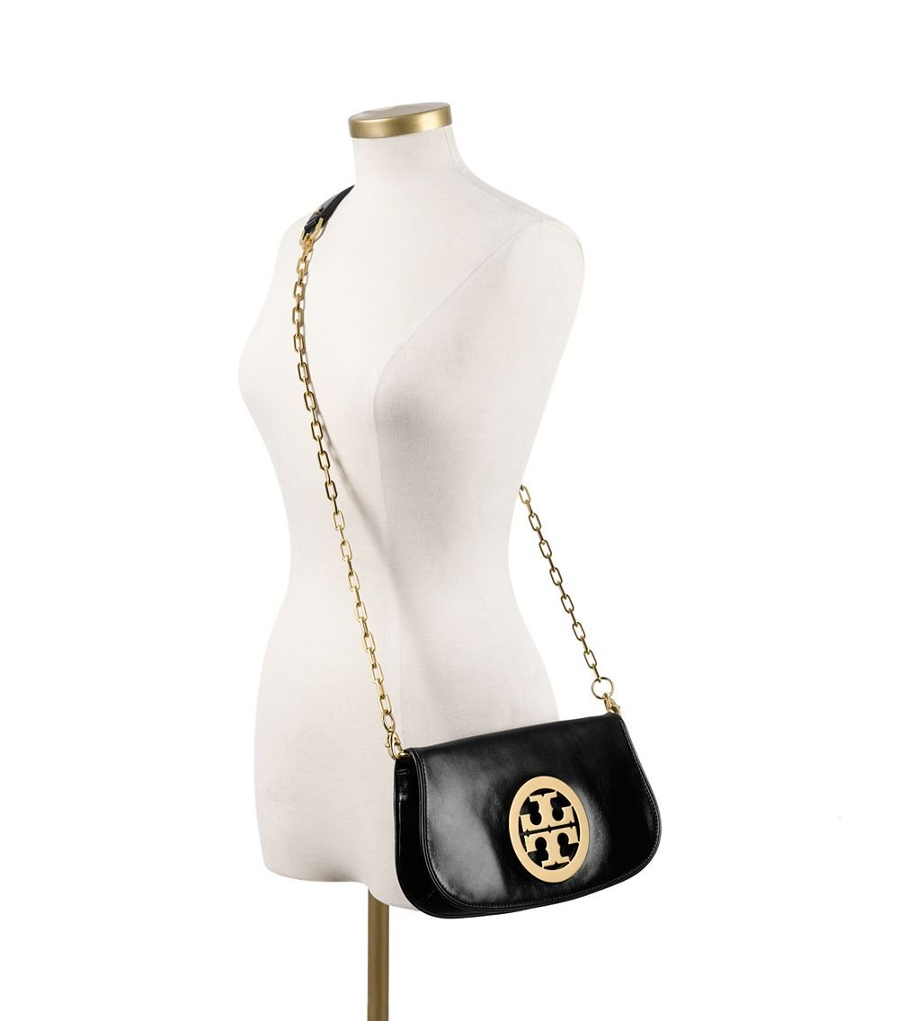 5a32027253db ... sale lyst tory burch logo clutch in black 8b505 bf124 ...