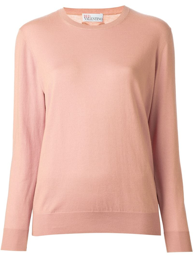 Red valentino Appliqué Bow Sweater in Pink   Lyst