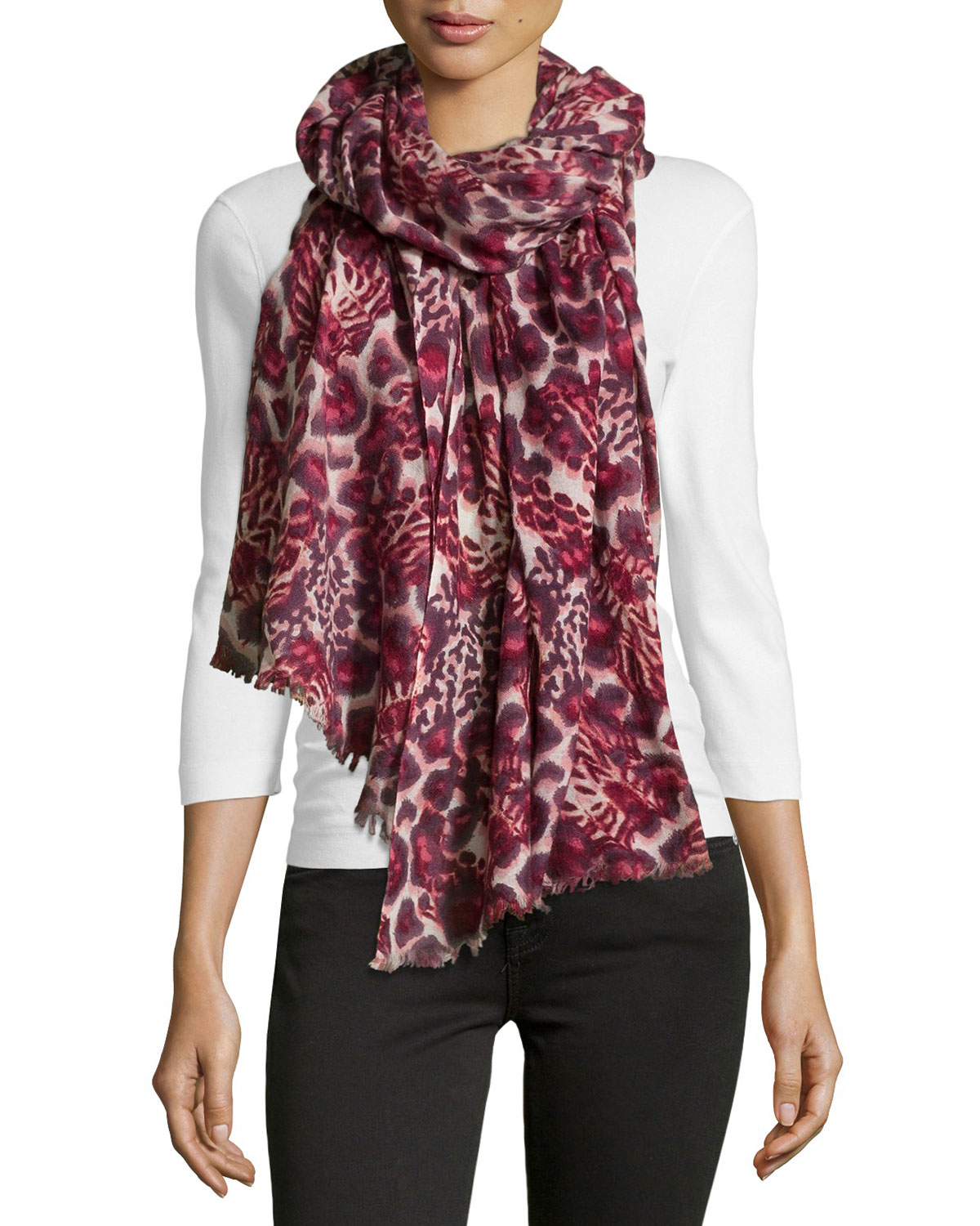 neiman mixed animal print fringe wool scarf in