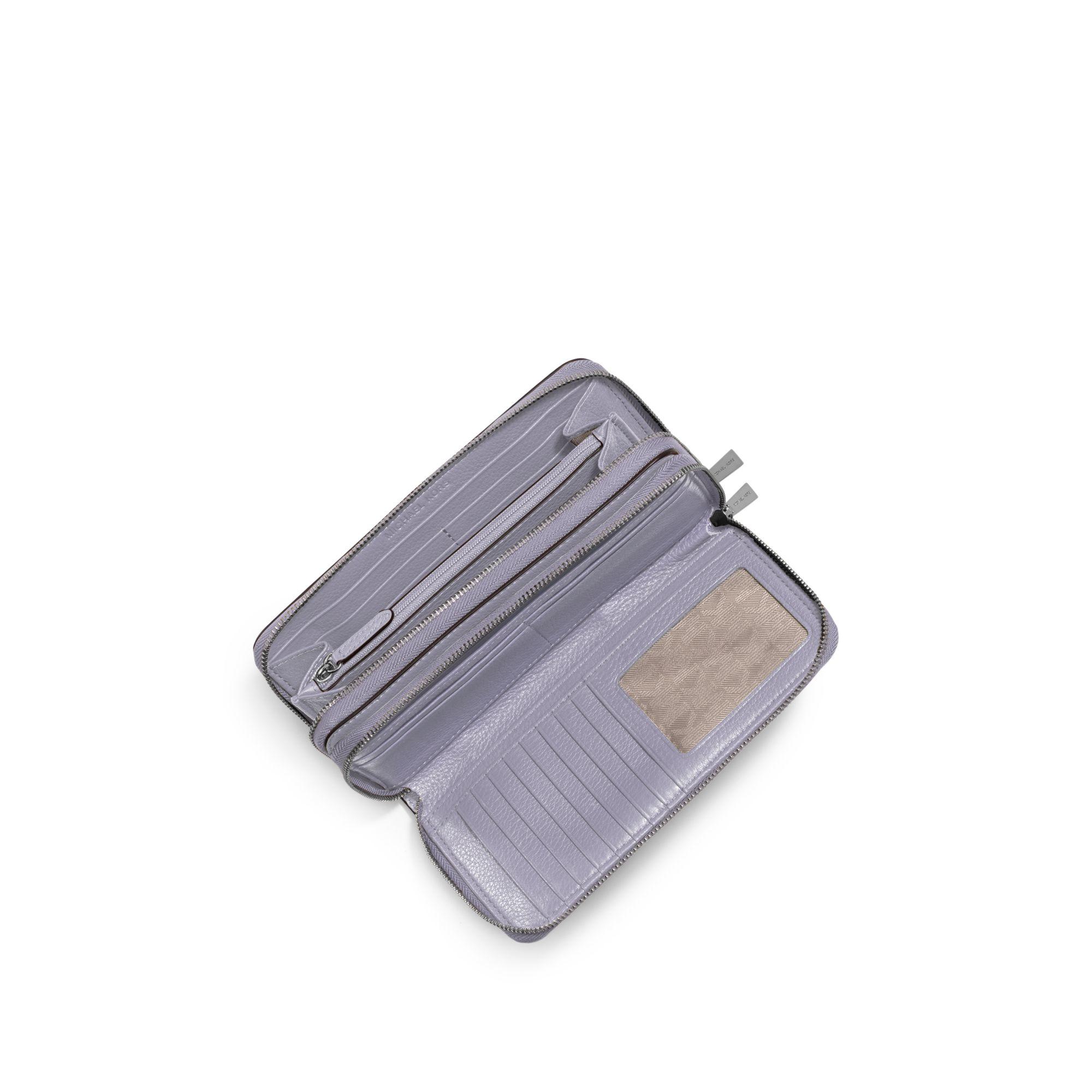 d66dd4e699fc Michael Kors Adele Leather Wallet in Purple - Lyst