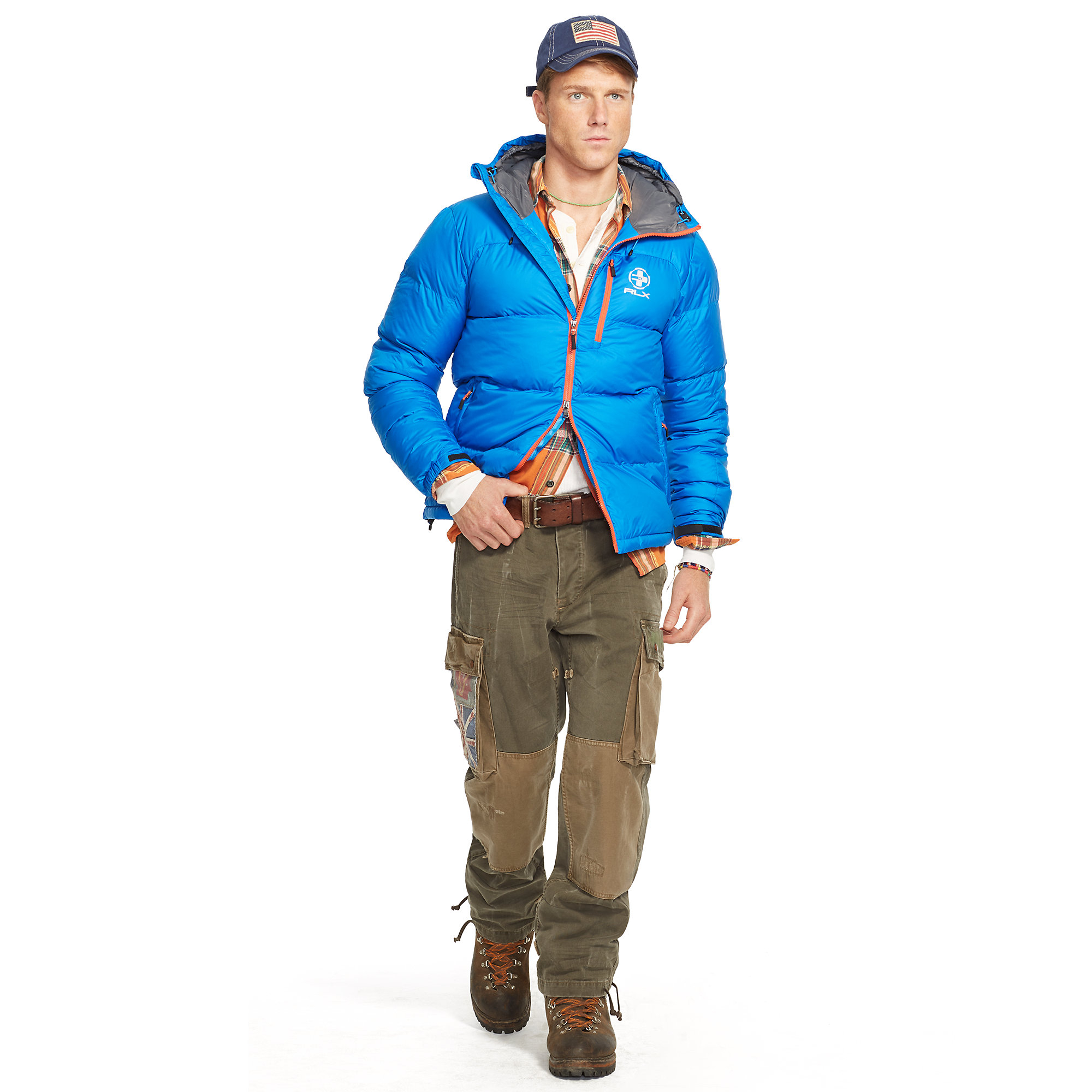Ralph Lauren Channel Quilted Down Jacket In Blue For Men
