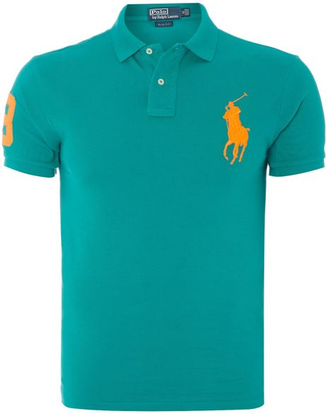 Polo ralph lauren big pony 3 sleeve slim fit polo shirt in for Mens teal polo shirt