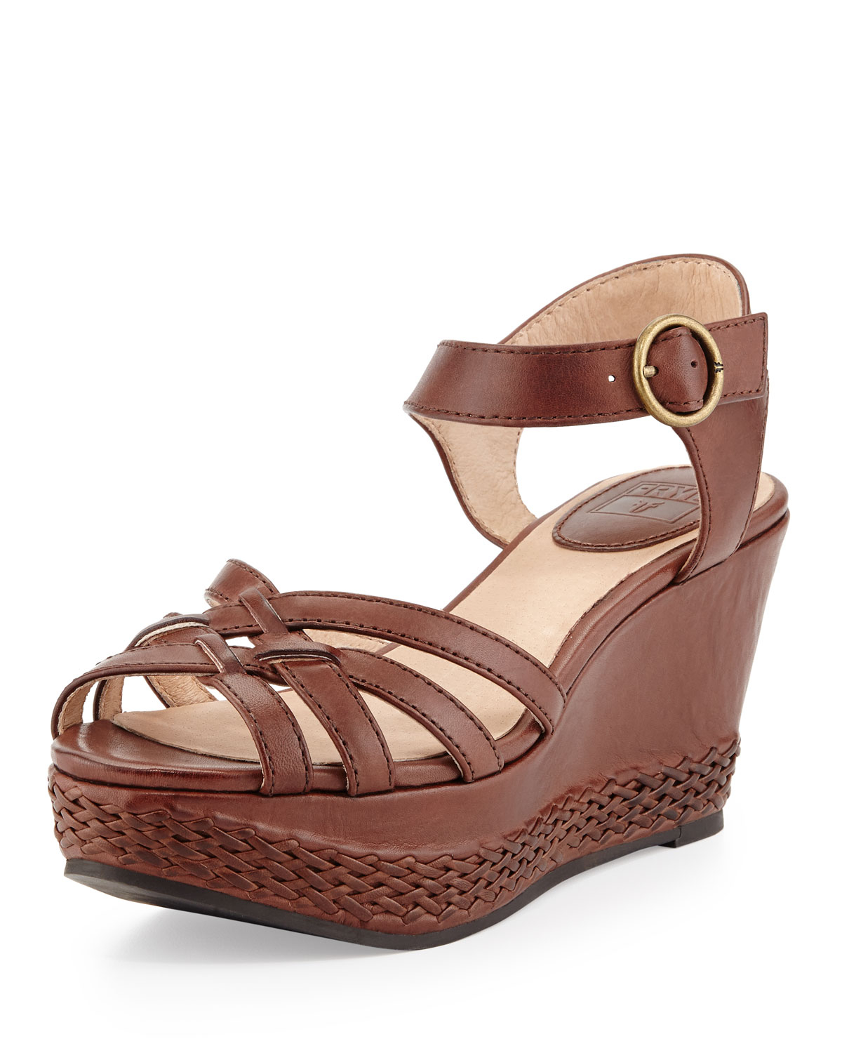 Frye Carlie 2 Piece Woven Leather Wedge Sandal In 7 Brown