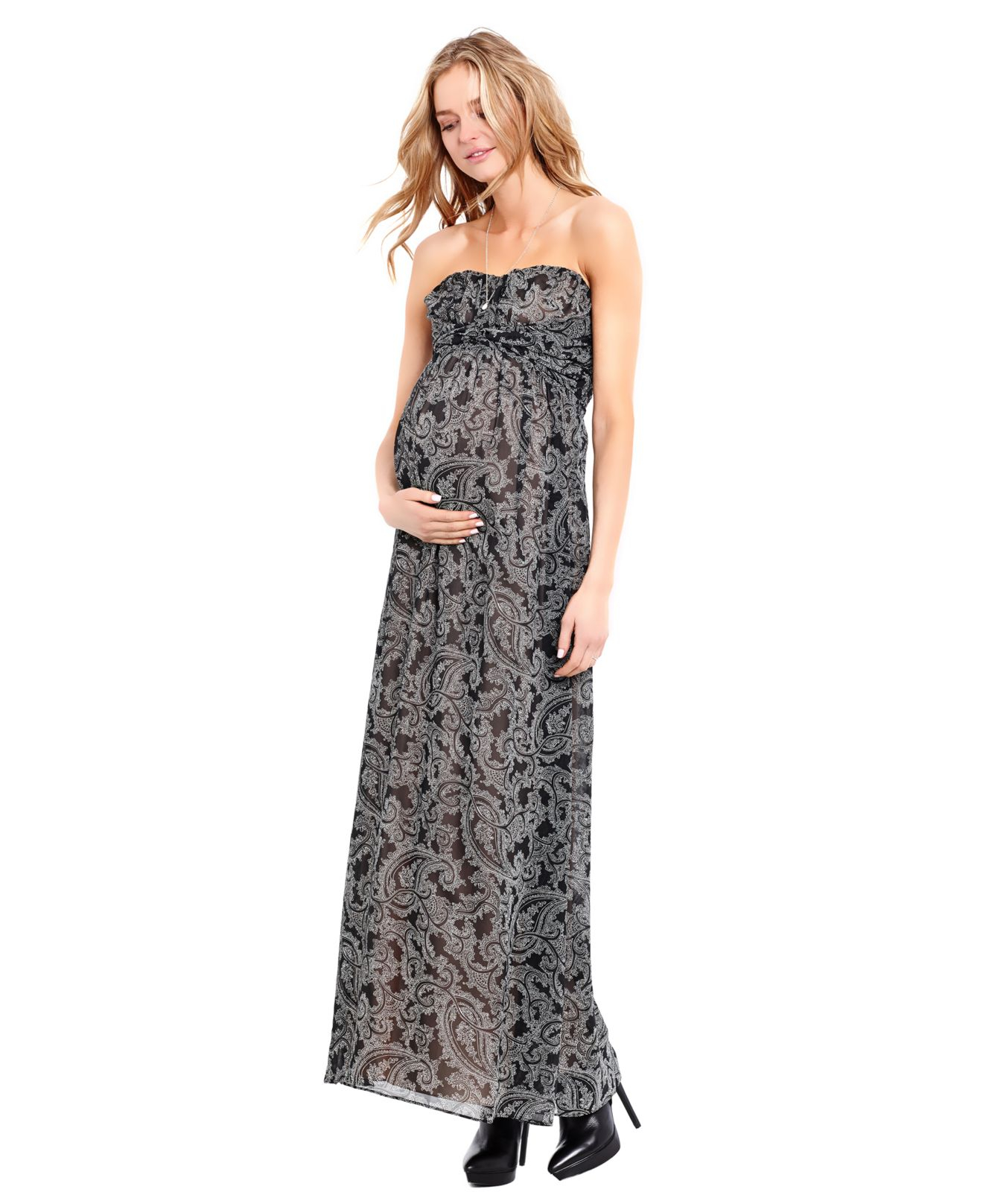 Jessica simpson maternity strapless paisley print maxi dress lyst gallery ombrellifo Image collections