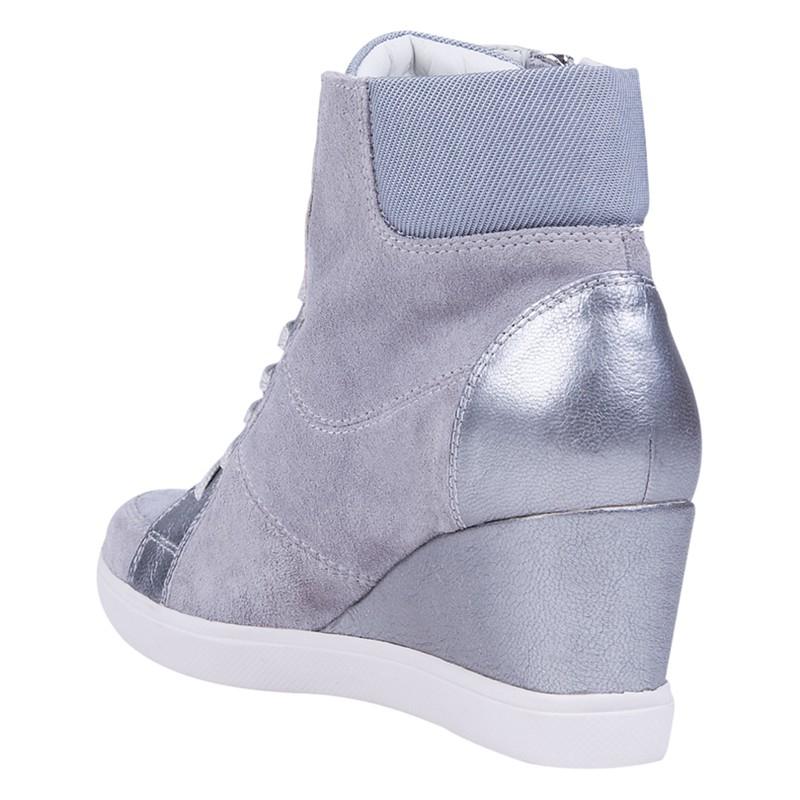 Geox Eleni Suede Mix Wedge Heel Trainers in Pearl (Grey)