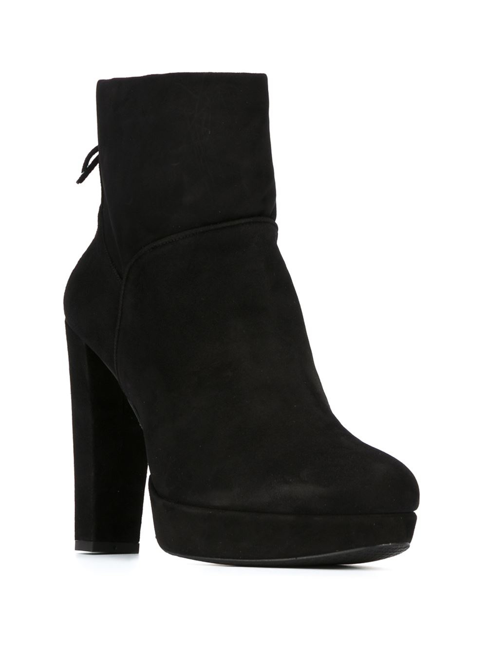 Stuart weitzman Chunky Heel Ankle Boots in Black | Lyst