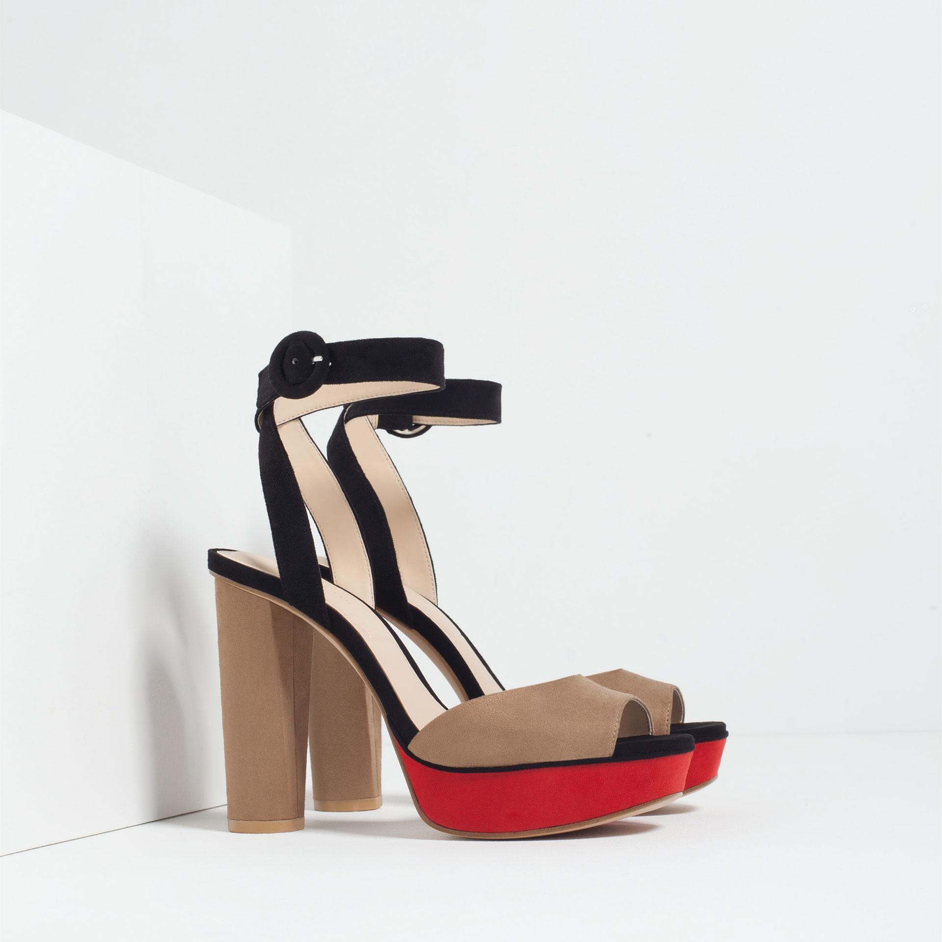 zara contrast platform sandals in multicolor lyst