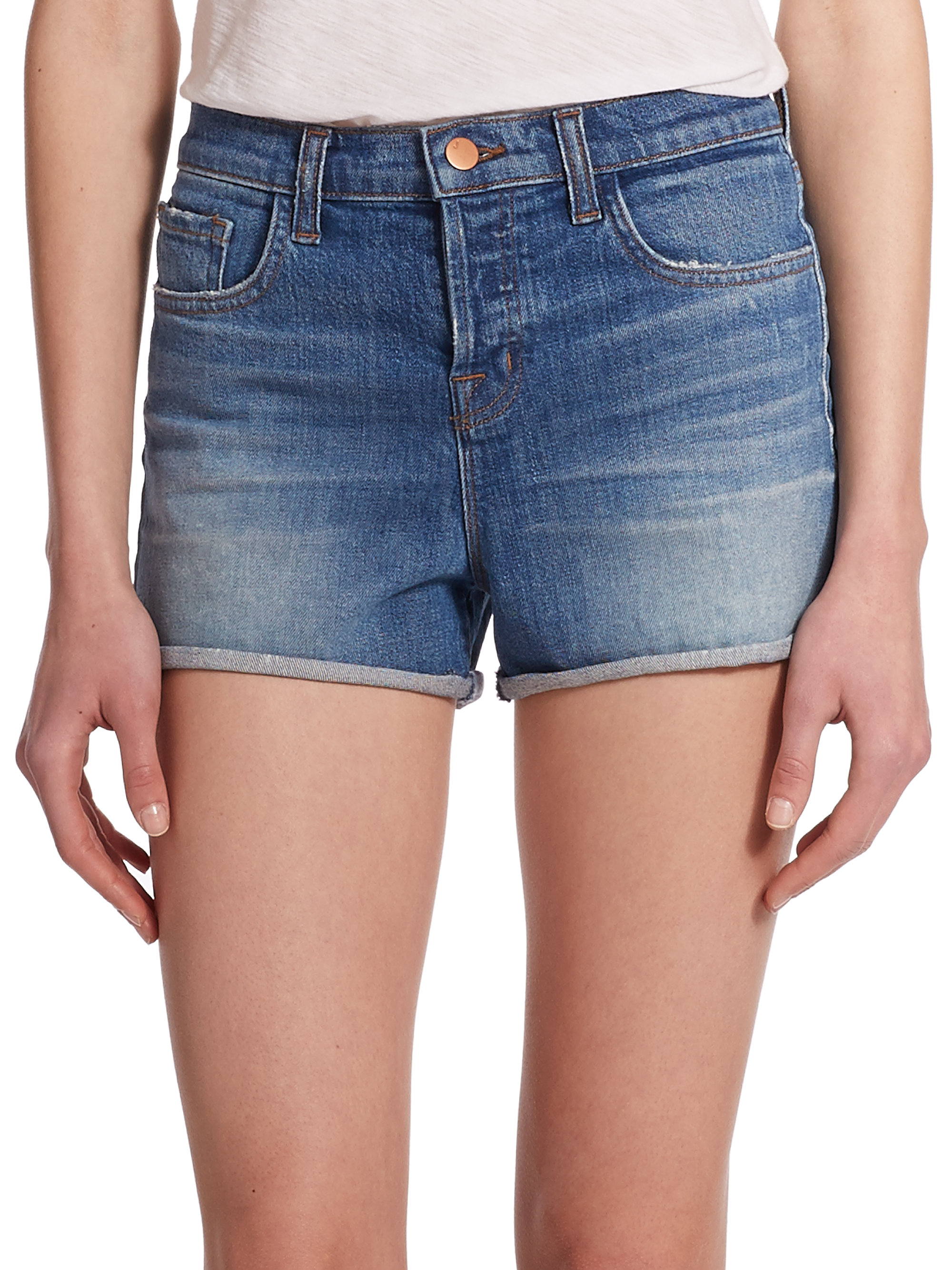 e5f4812e7b3 Lyst - J Brand Gracie High-Rise Cuffed Denim Shorts in Blue