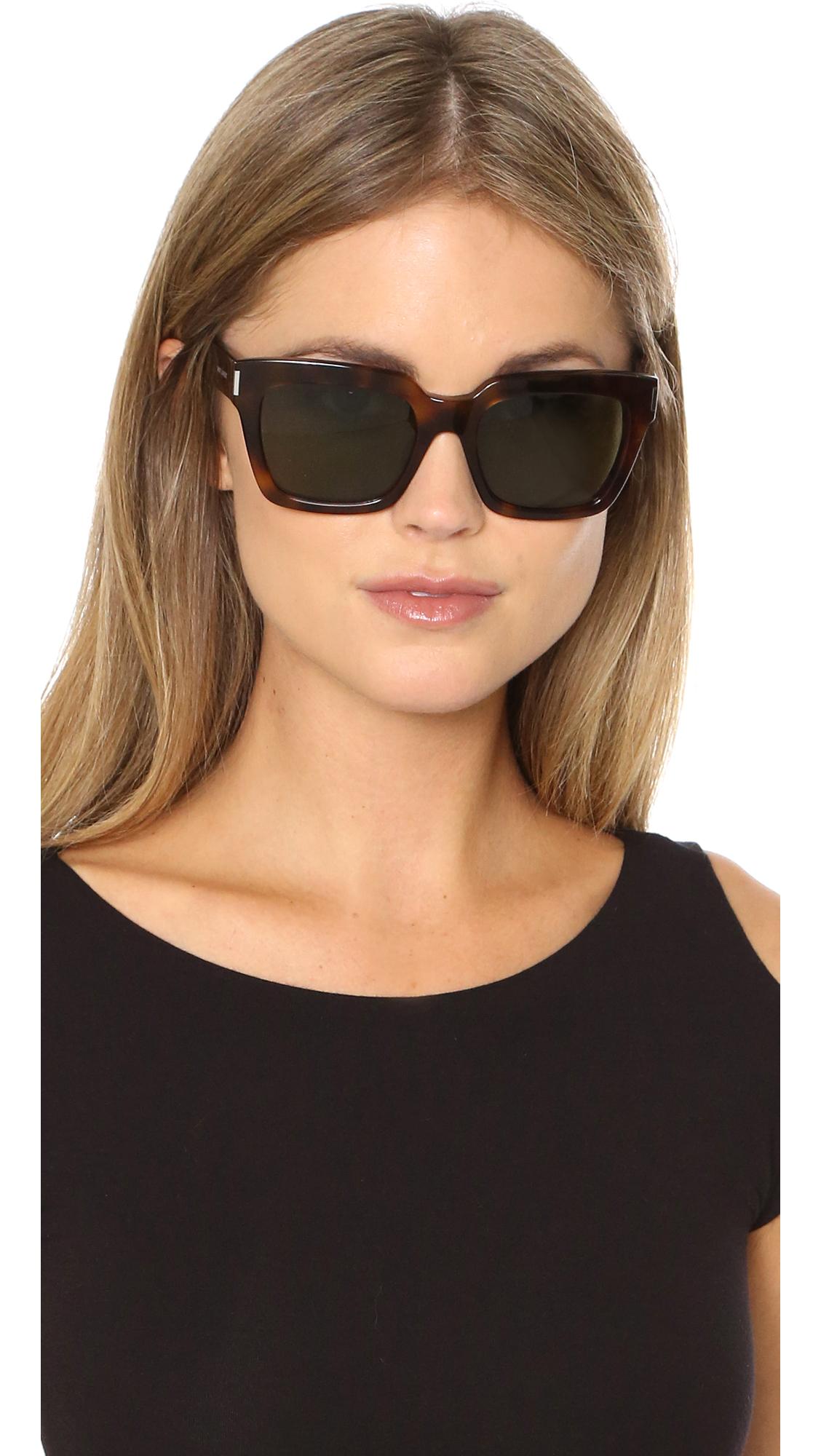 Lyst Saint Laurent Bold 1 Mineral Glass Sunglasses In Green