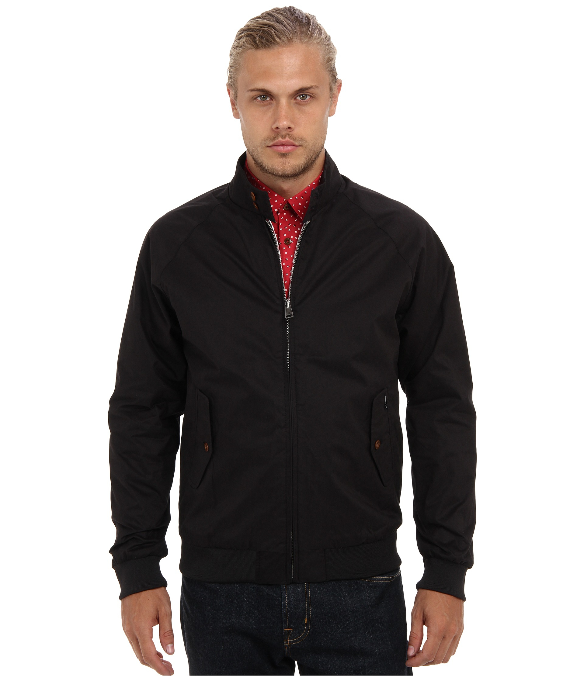 lyst ben sherman the original cotton harrington jacket in black for men. Black Bedroom Furniture Sets. Home Design Ideas