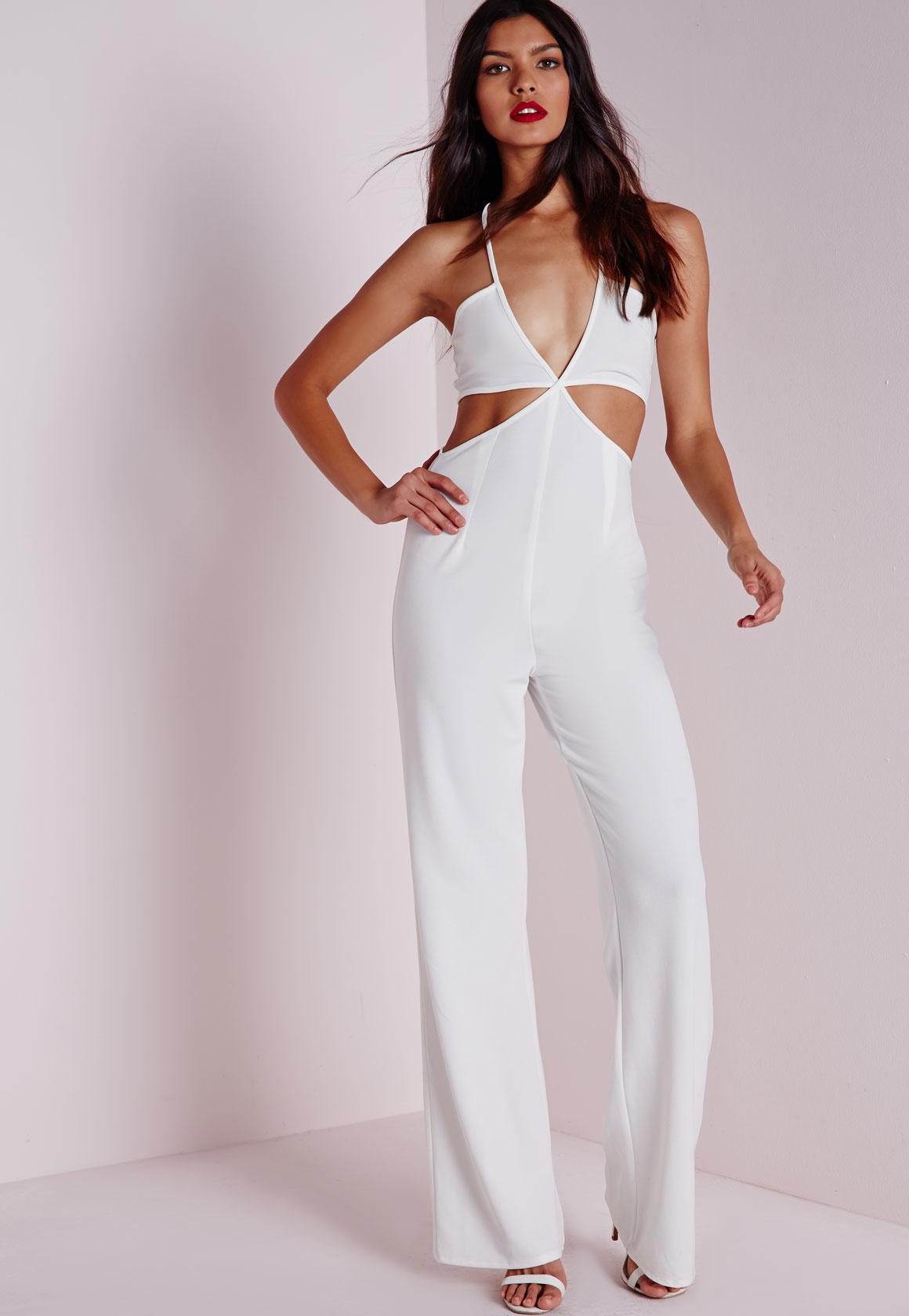 463e54b51d32 Missguided Strappy Plunge Cut Out Jumpsuit White in White - Lyst