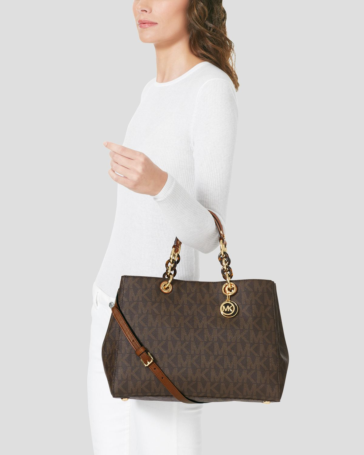 517732117e23 ... discount code for lyst michael michael kors signature logo large satchel  in natural f8558 c1433