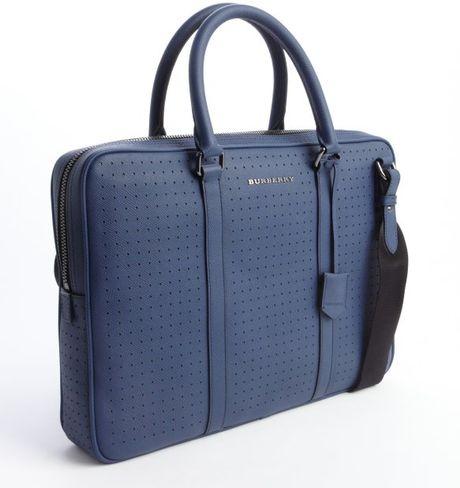 Burberry Lapis Blue Leather Messenger Bag in Blue for Men