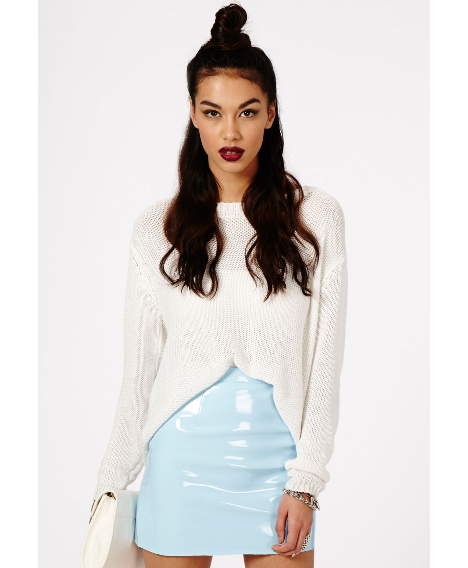Missguided Nagsia Pvc Mini Skirt In Baby Blue in Blue | Lyst