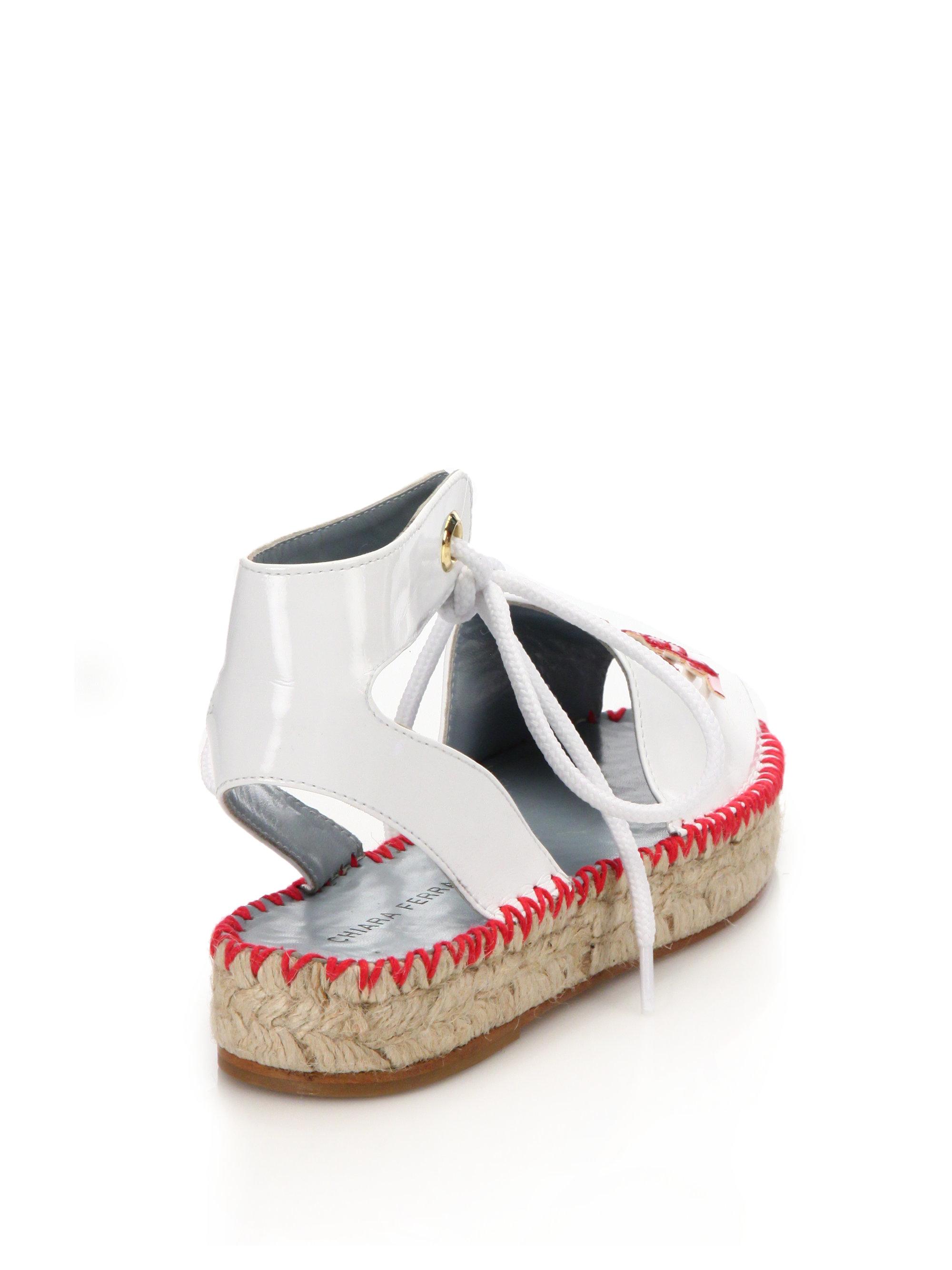 Lyst Chiara Ferragni Wink Patent Leather Espadrille Sandals