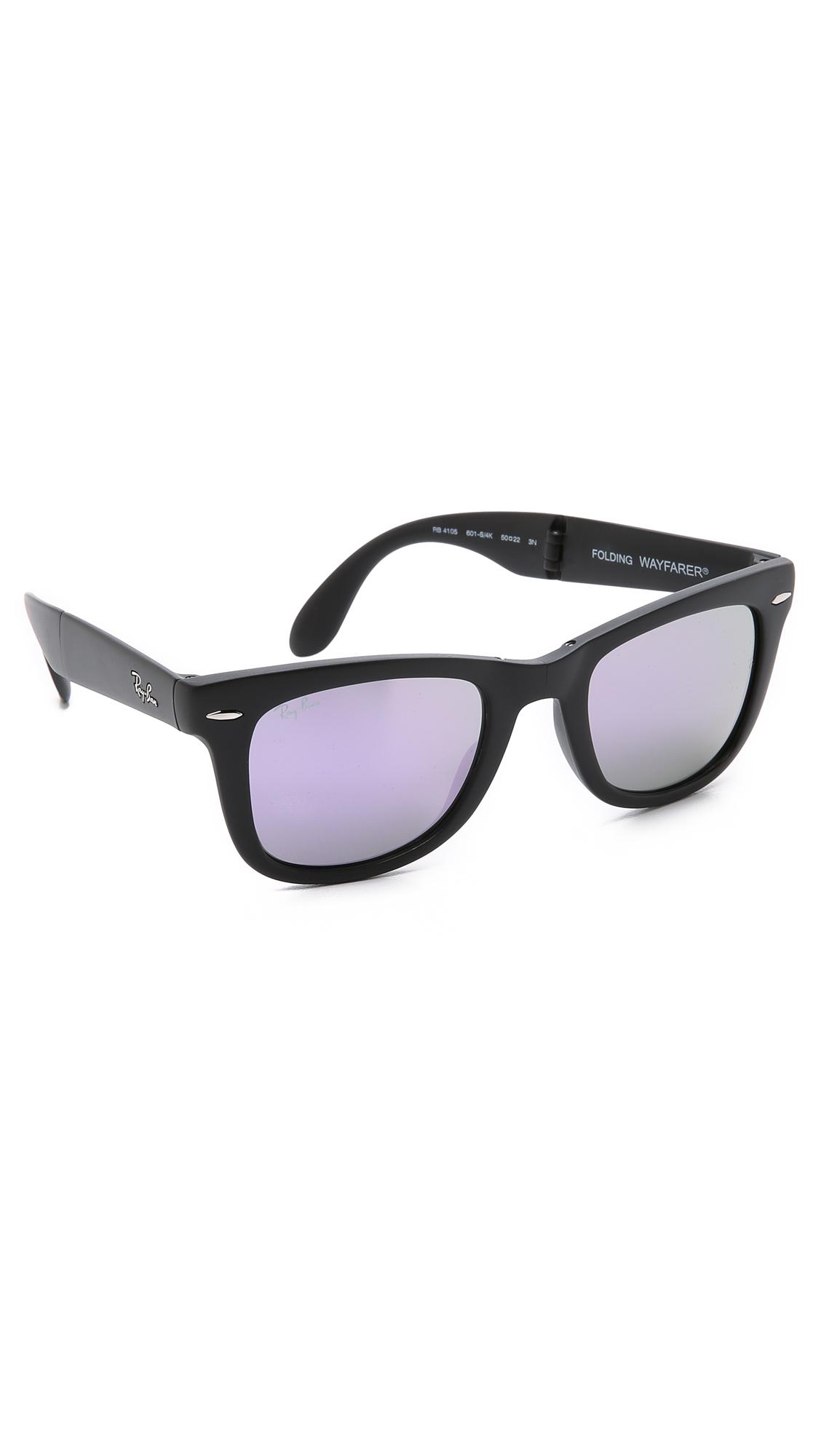 1af673181ce Lyst - Ray-Ban Folding Wayfarer Sunglasses With Flash Lens in Black ...