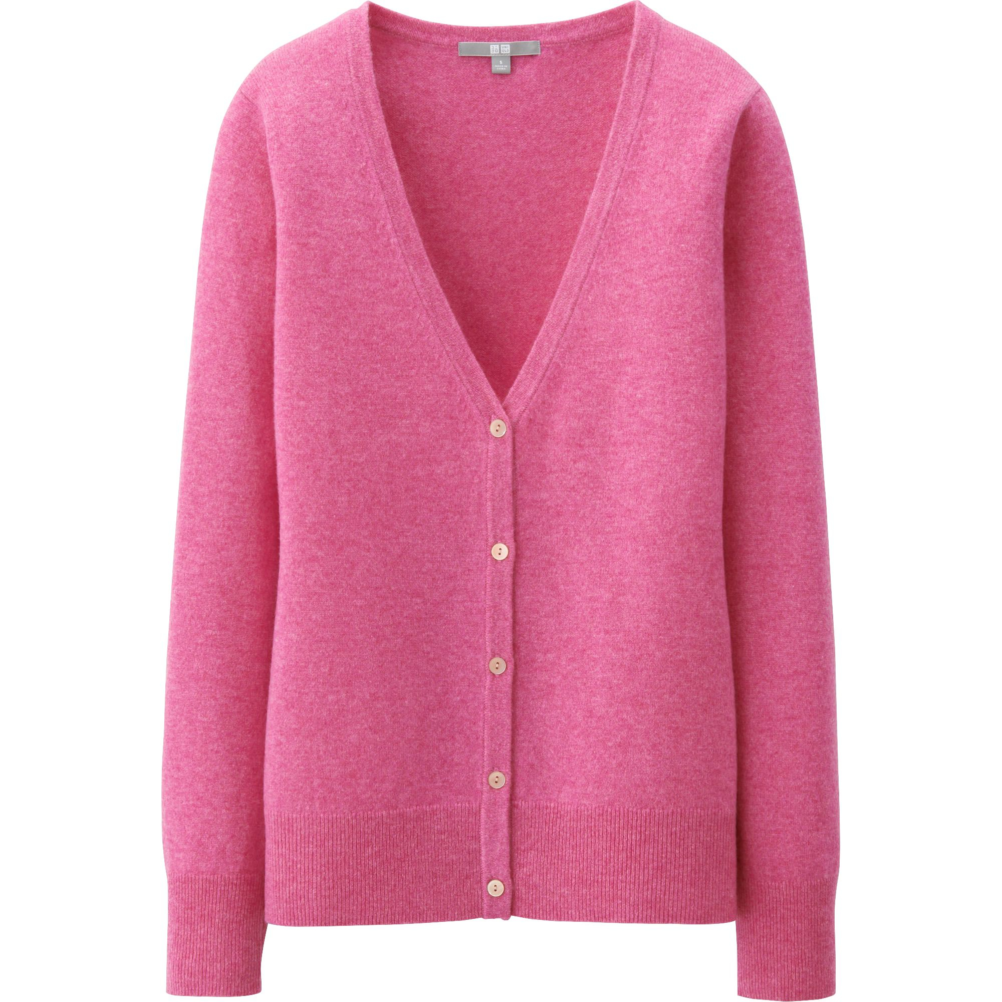 Pink Cashmere Ladies Sweater - Cardigan With Buttons