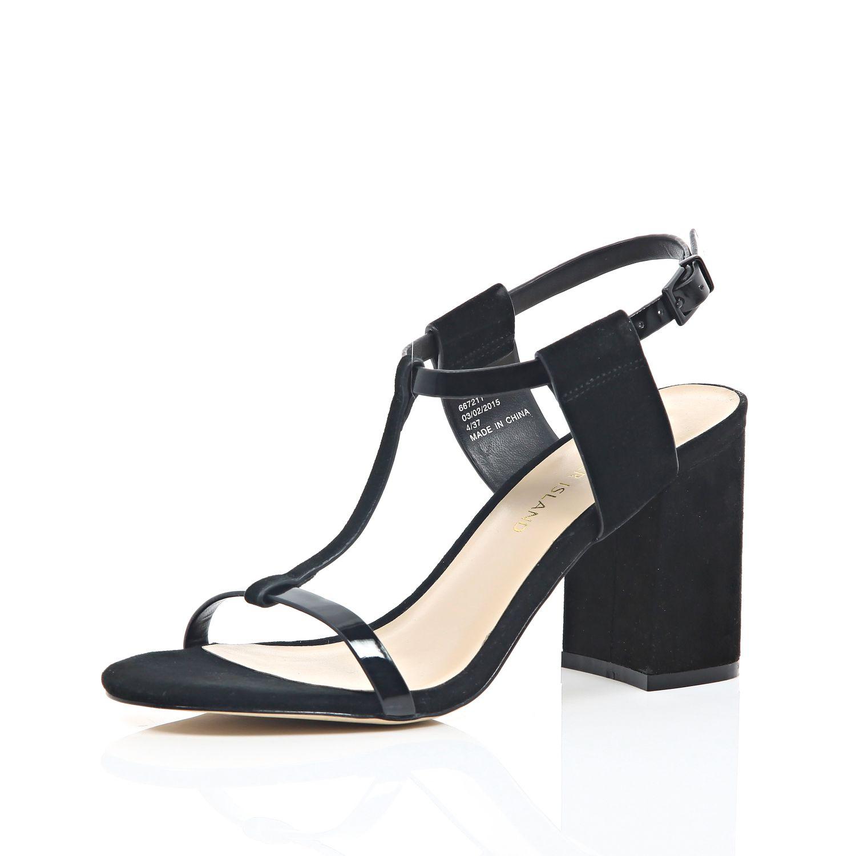0710f66320b River Island Black Suede Mid Block Heel Sandals in Black - Lyst