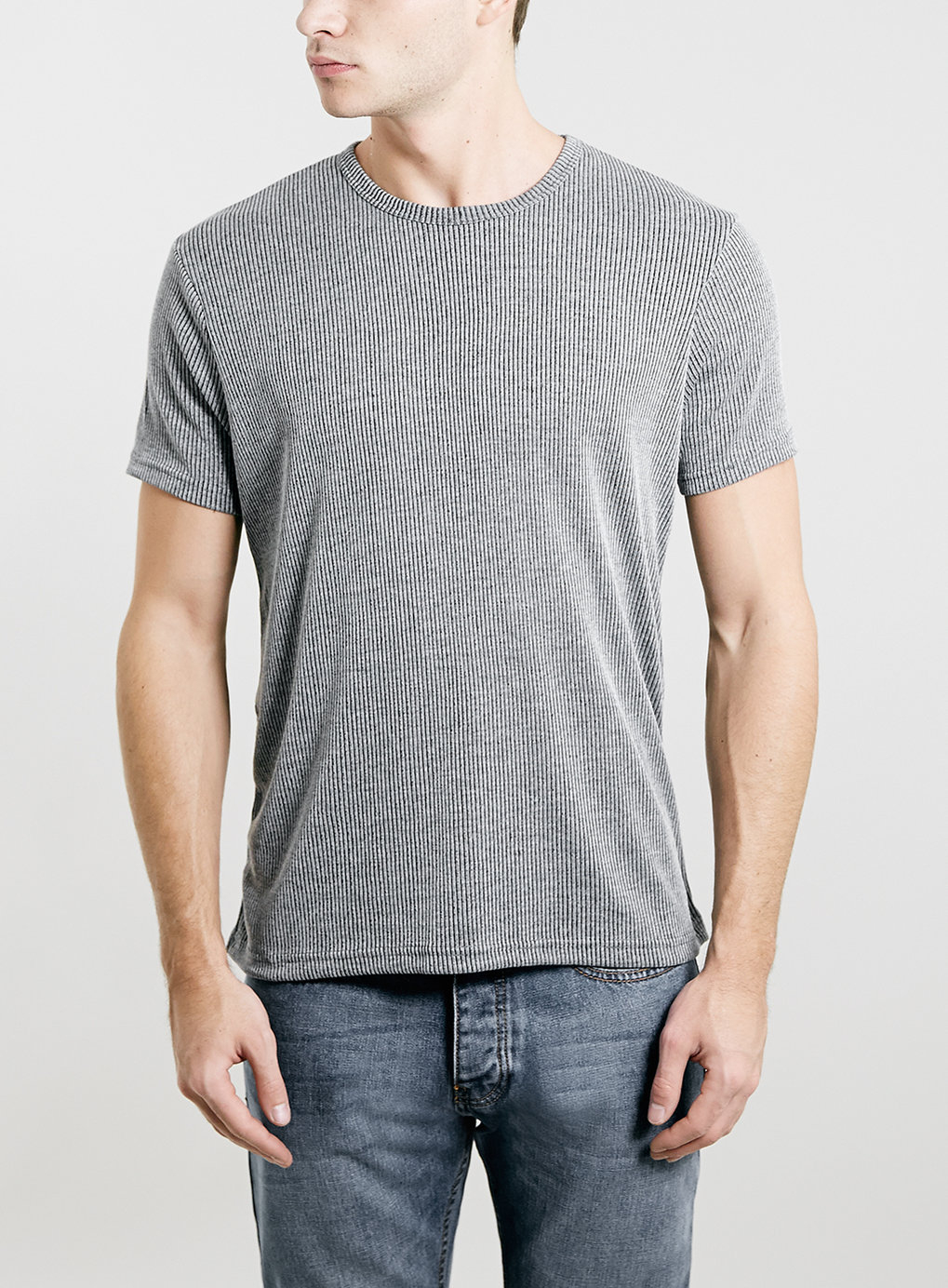 Topman grey slim fit ribbed t shirt in gray for men mid for Mens ribbed t shirts
