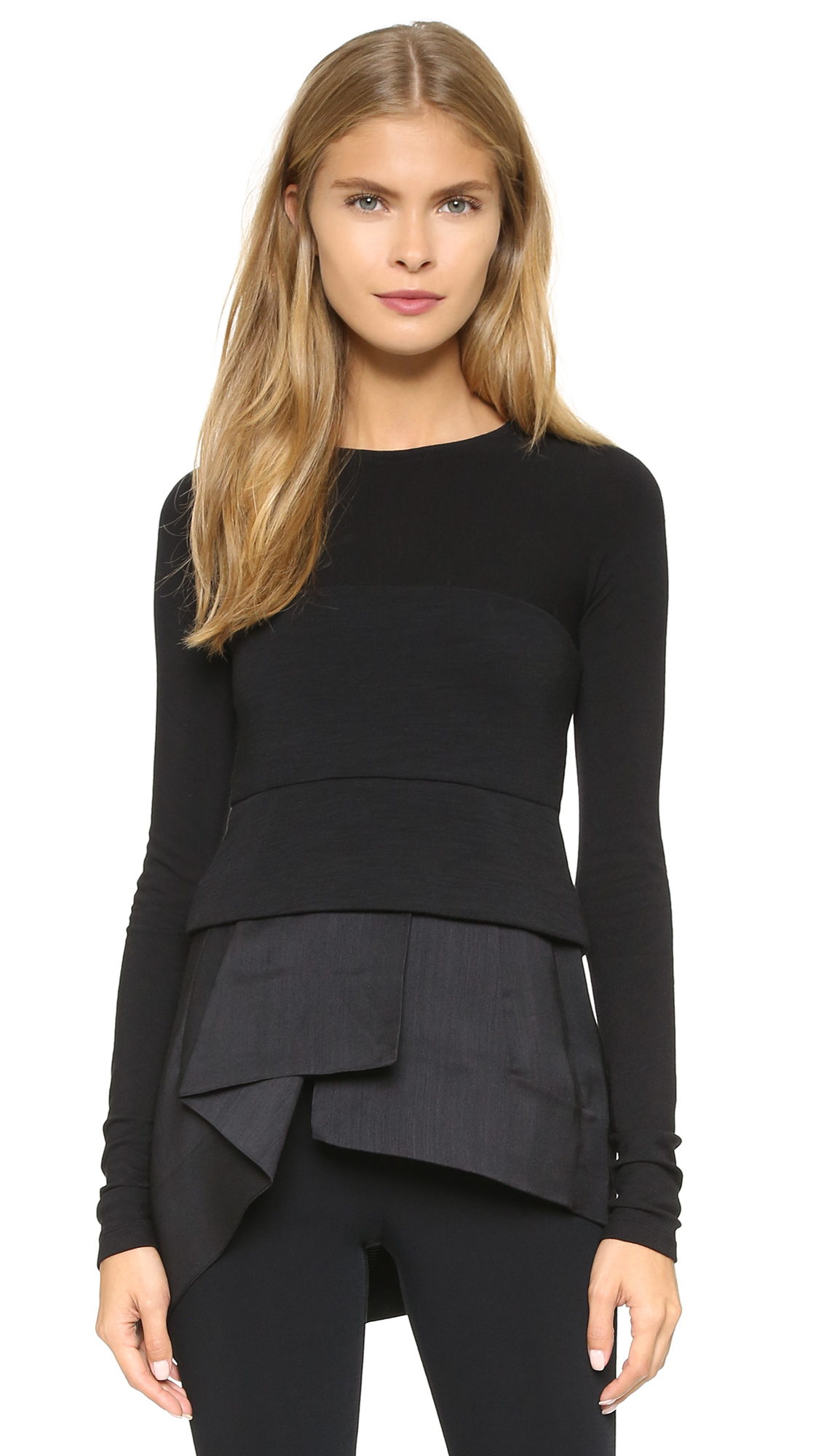 Lyst donna karan cool jersey peplum top black in black for Donna karen new york