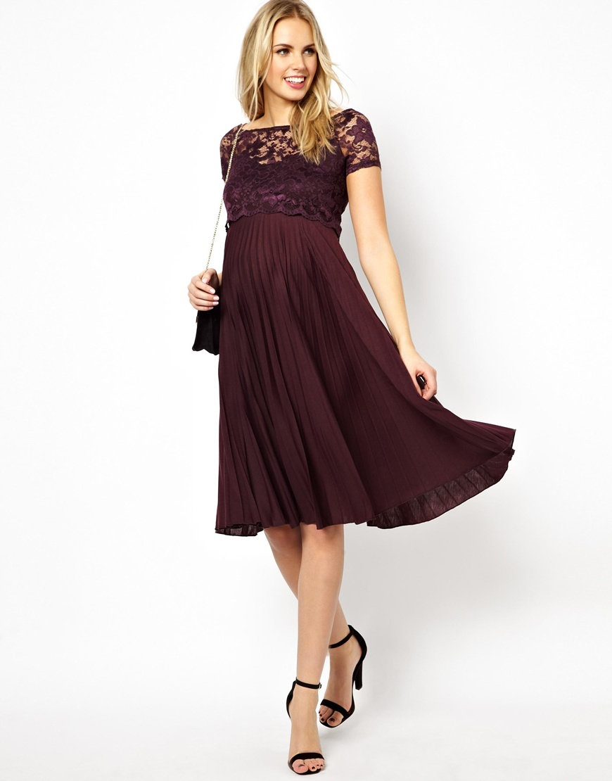 Asos Pleated Midi Dress With Lace Top In Purple Lyst