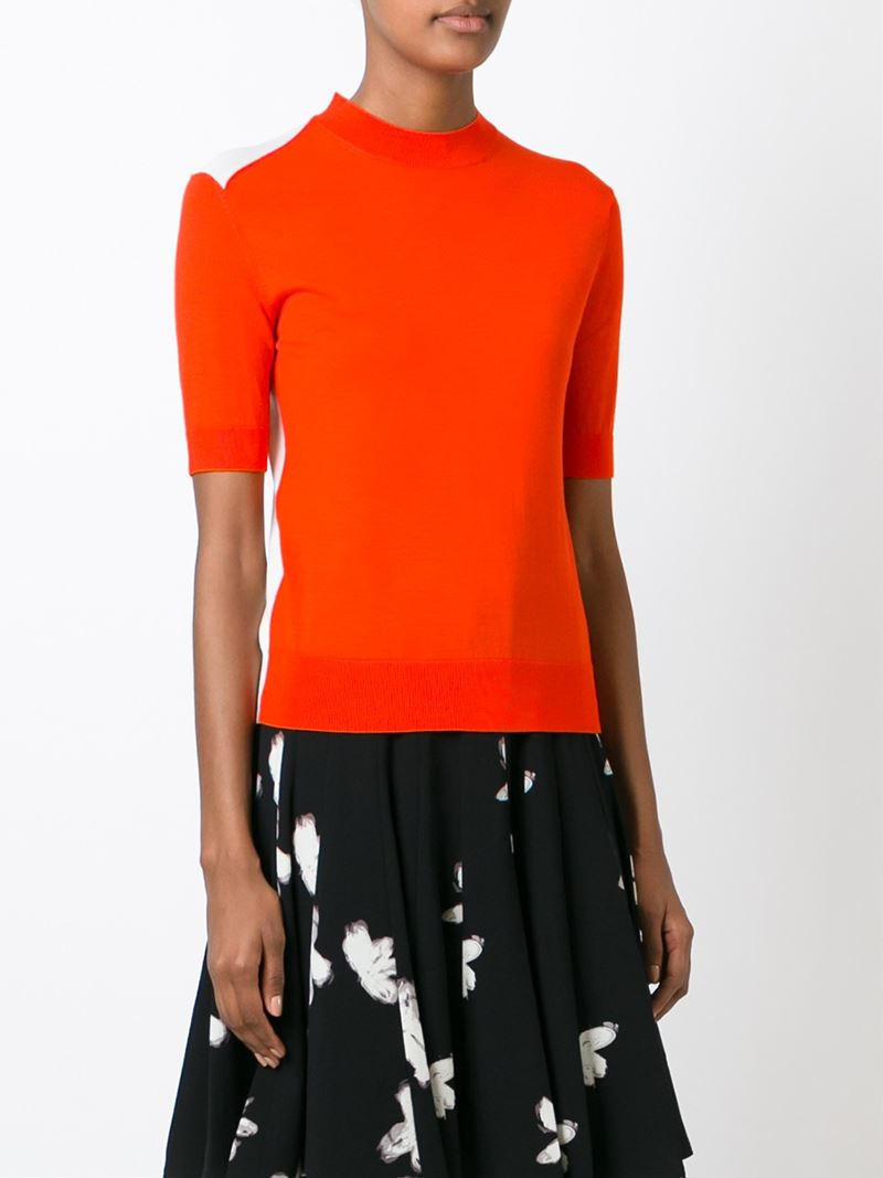 marc by marc jacobs panelled knit sweater in orange lyst. Black Bedroom Furniture Sets. Home Design Ideas