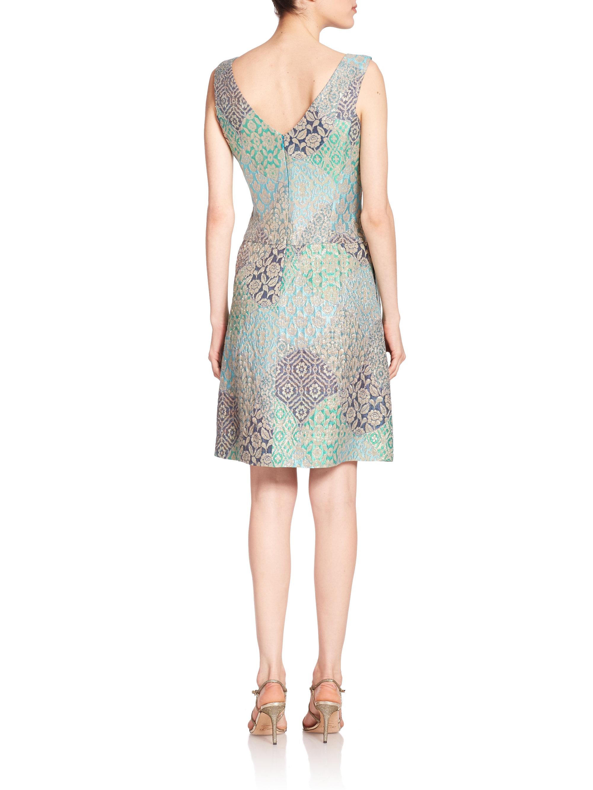 Kay Unger Metallic Jacquard Fit Amp Flare Dress Lyst