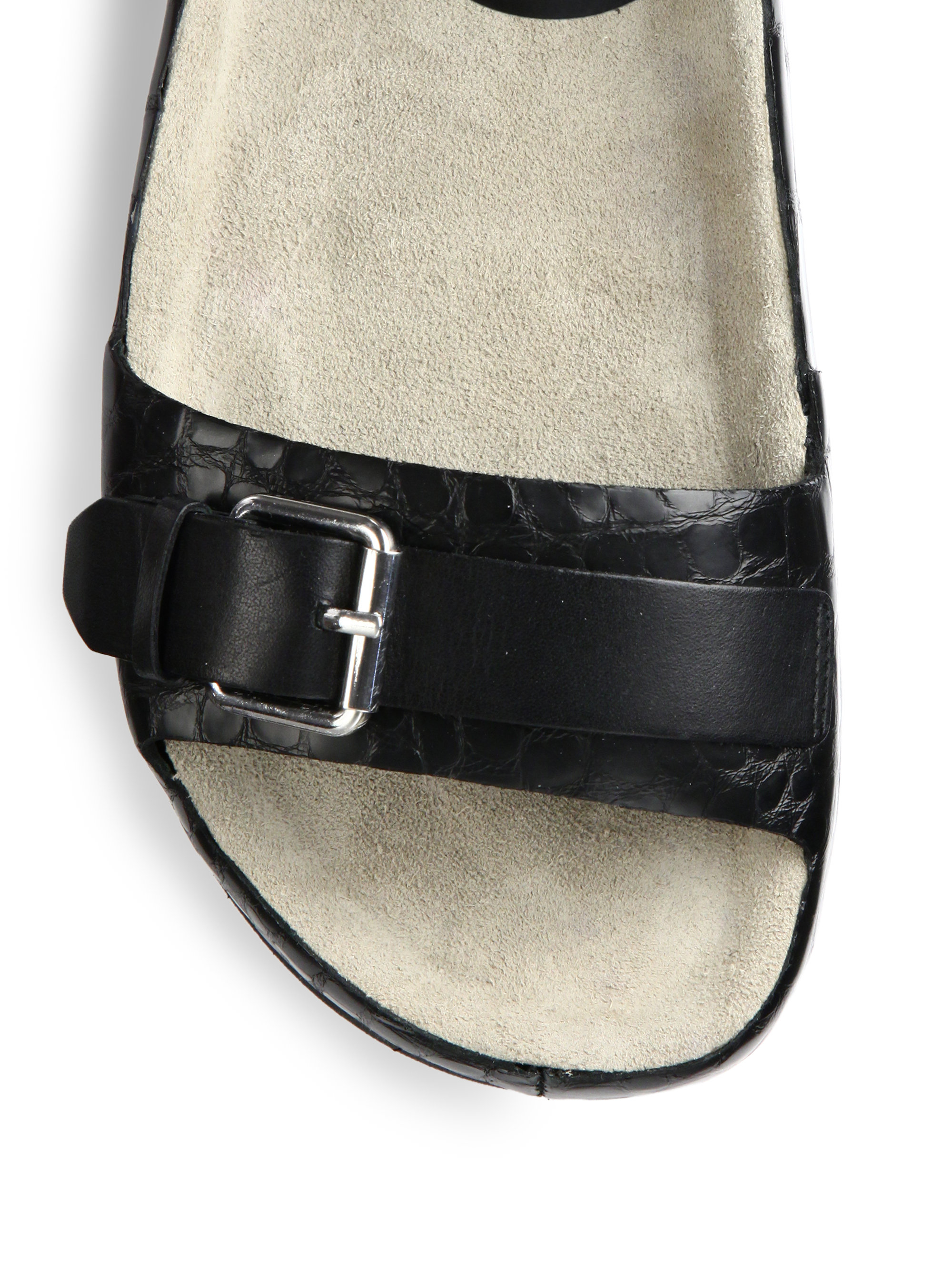 6e9ba24b78e0 Lyst - Ash Vera Croc-Embossed Leather Flatform Sandals in Black