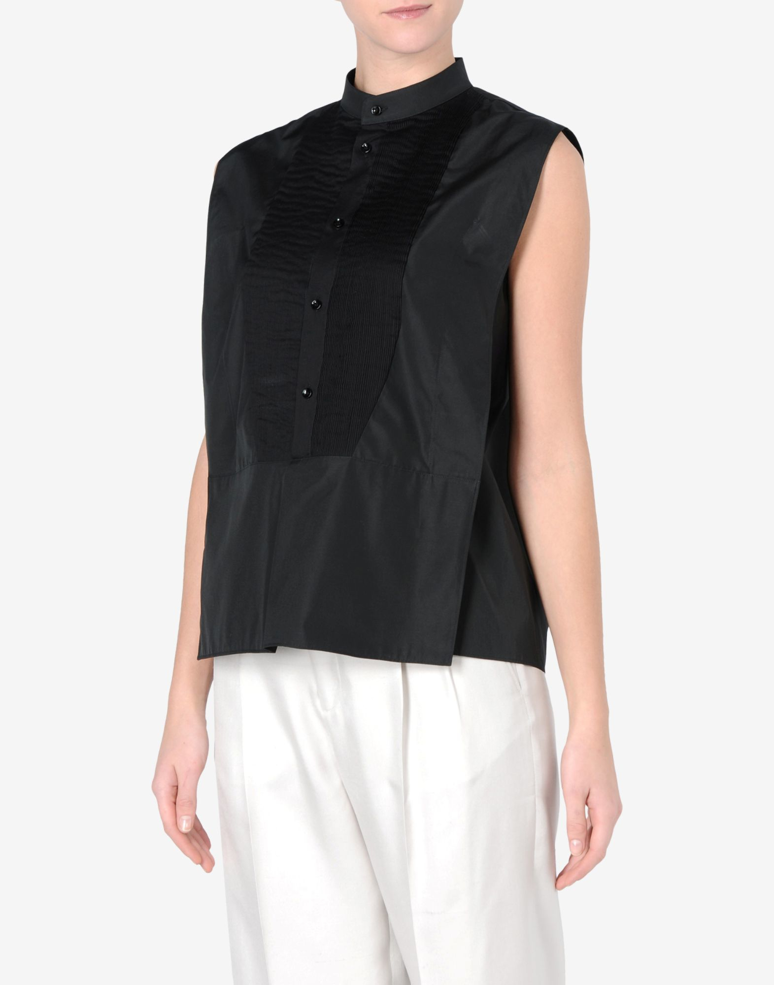 White Cotton Sleeveless Blouse With Collar Black Dressy