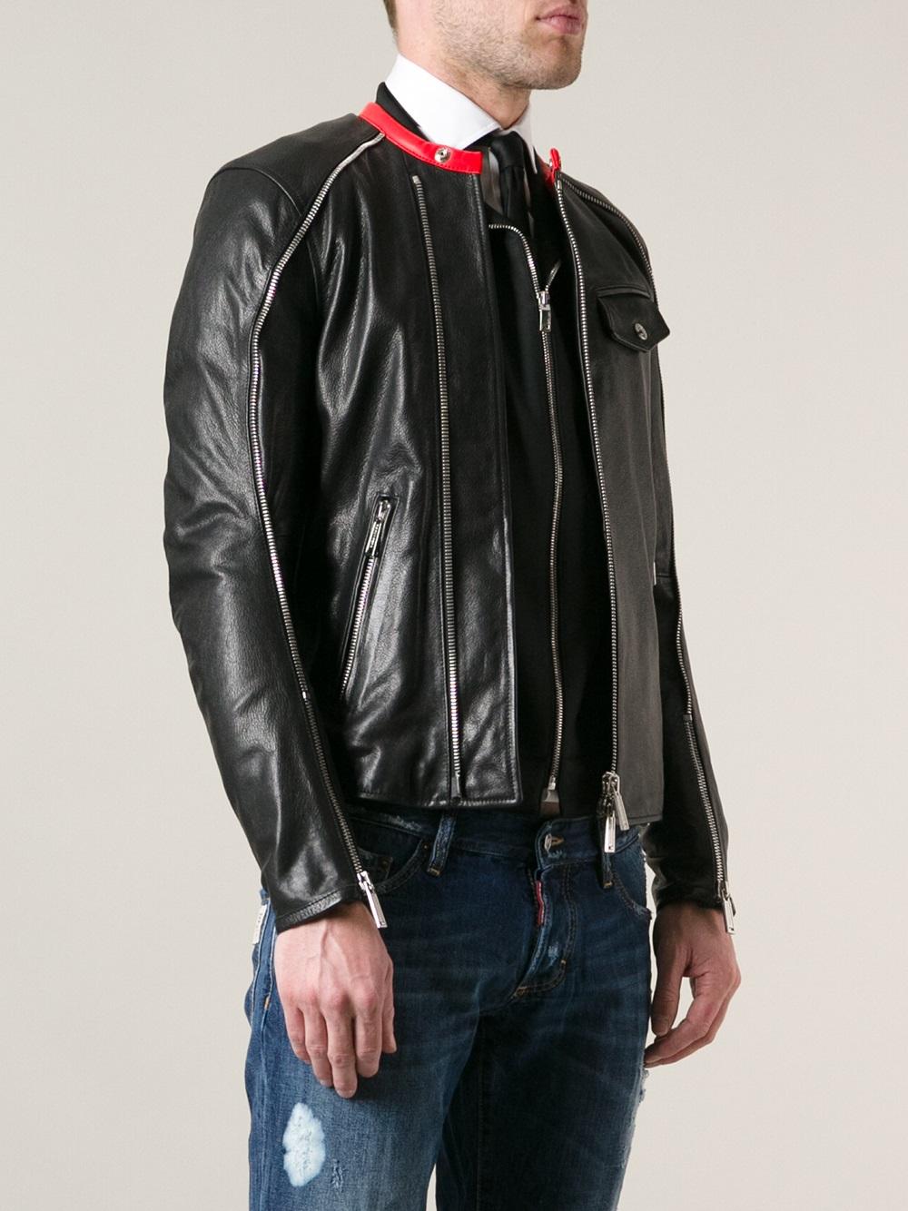 DSquared² Leather Jacket in Black for Men